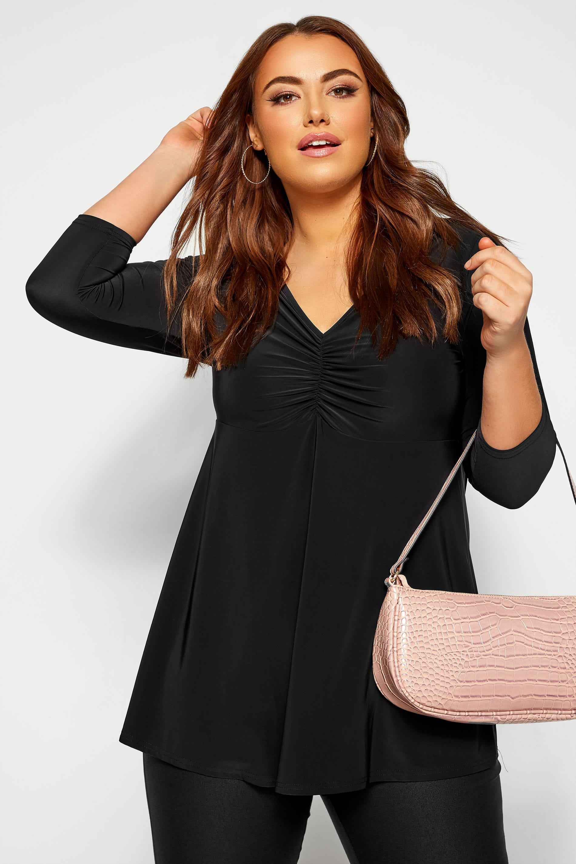 YOURS LONDON Black Slinky Ruched Bust Top