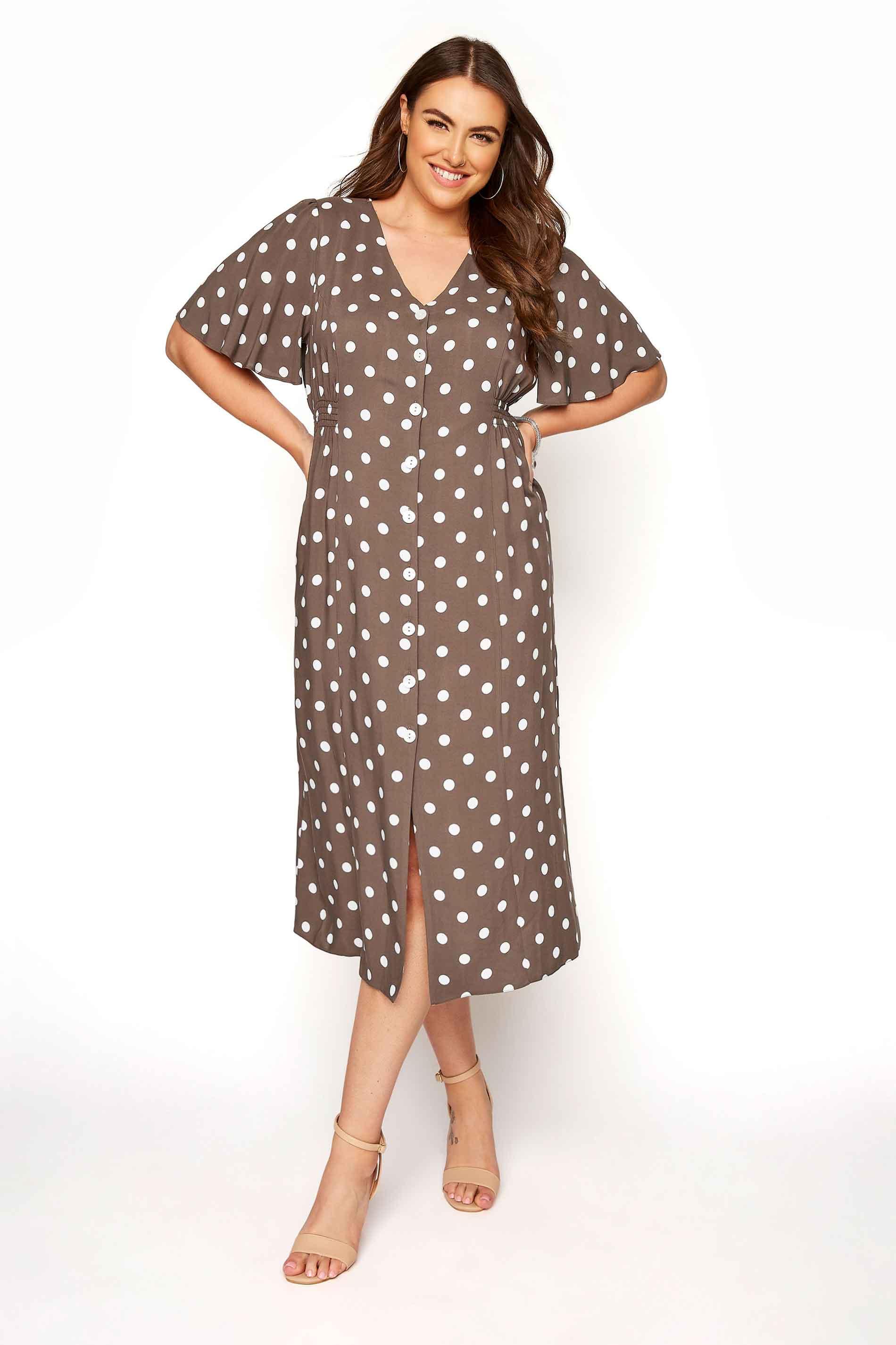 YOURS LONDON Brown Polka Dot Button Through Midi Dress_ebf9.jpg