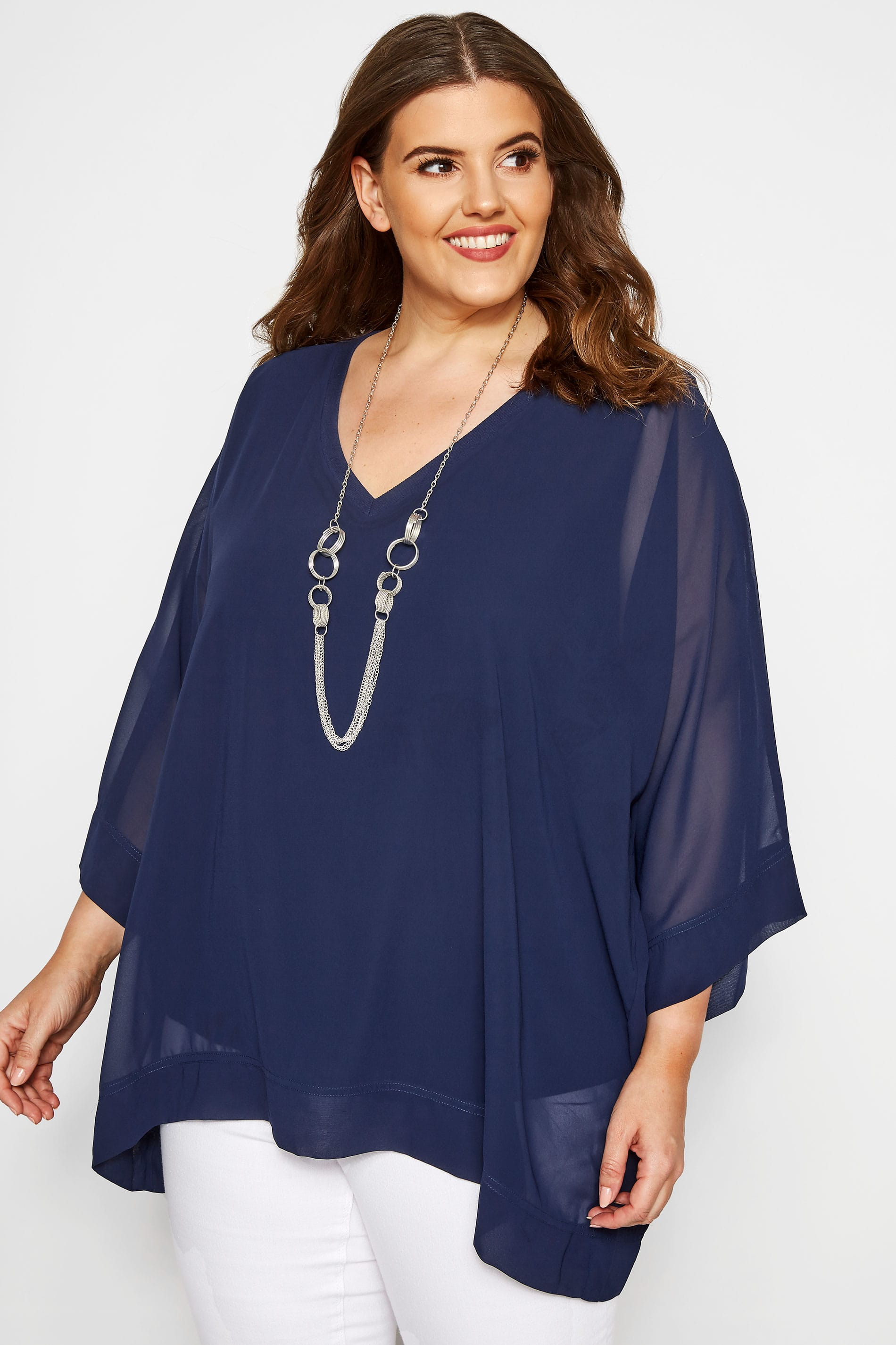 YOURS LONDON Chiffon Top - Navy