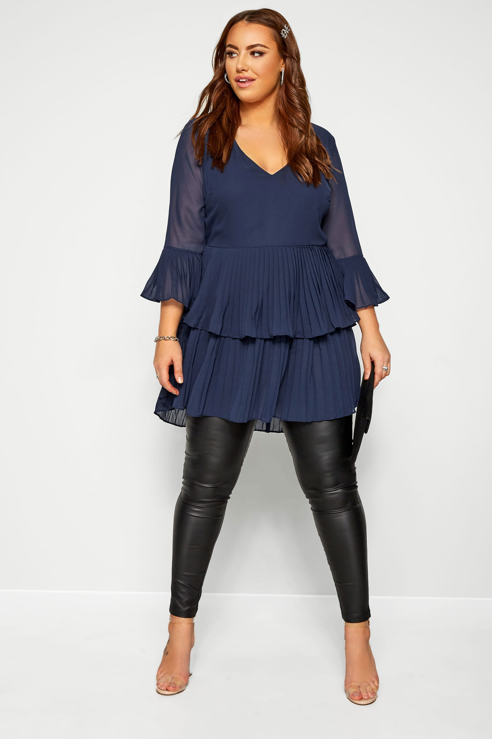 YOURS LONDON Navy Double Layer Pleated Blouse