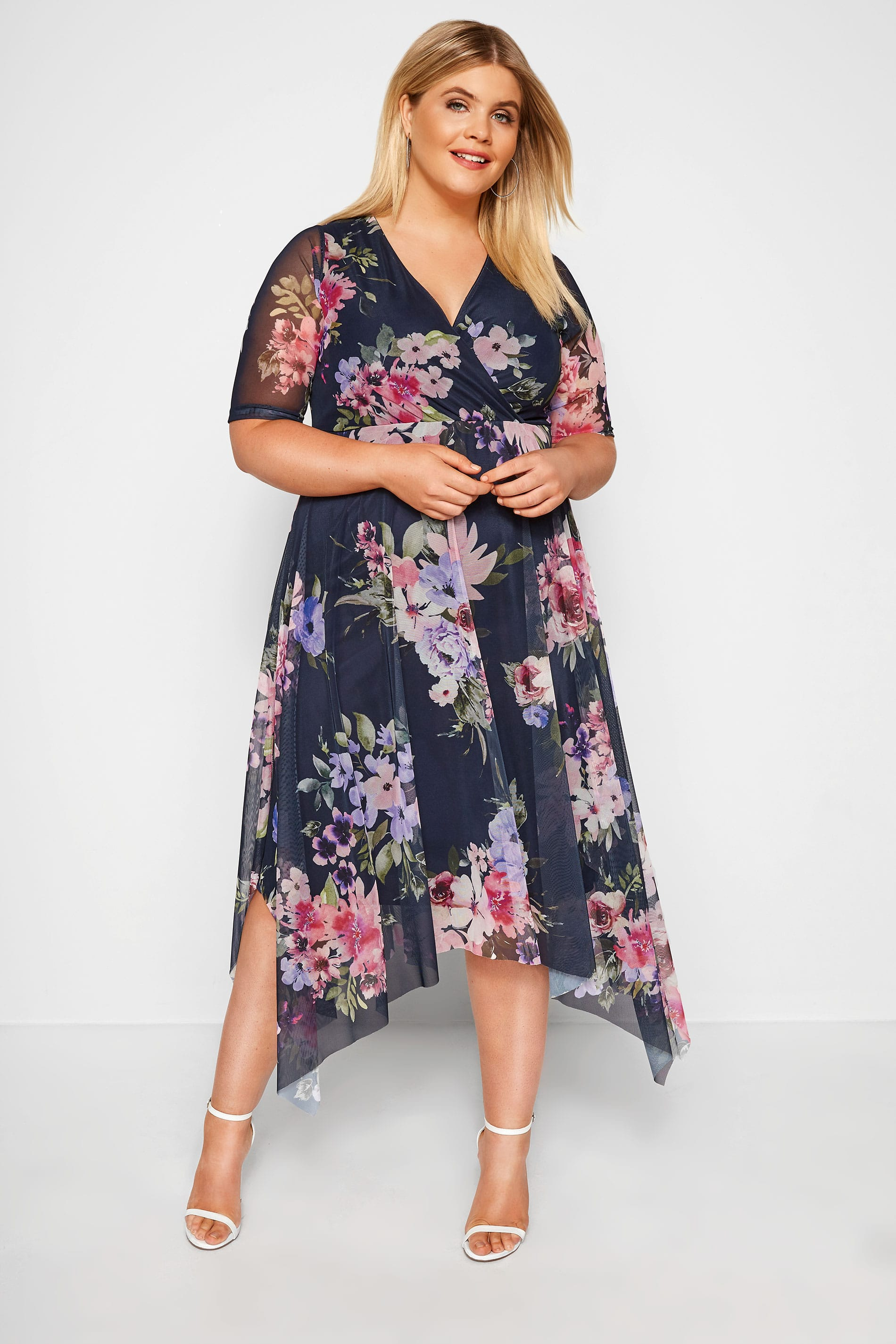 YOURS LONDON Navy Floral Mesh Midi Dress With Hanky Hem