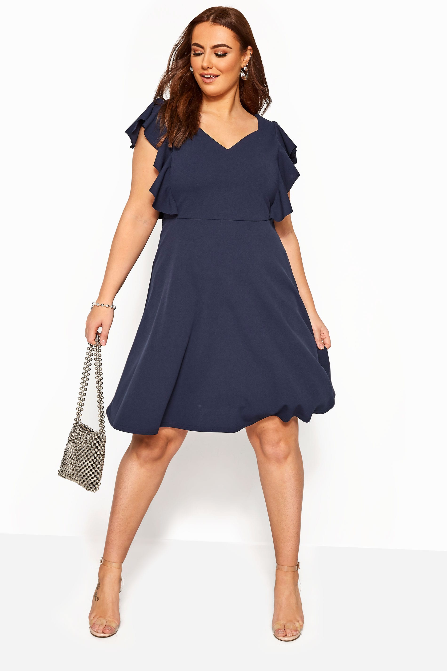 YOURS LONDON Navy Frill Shoulder Skater Dress