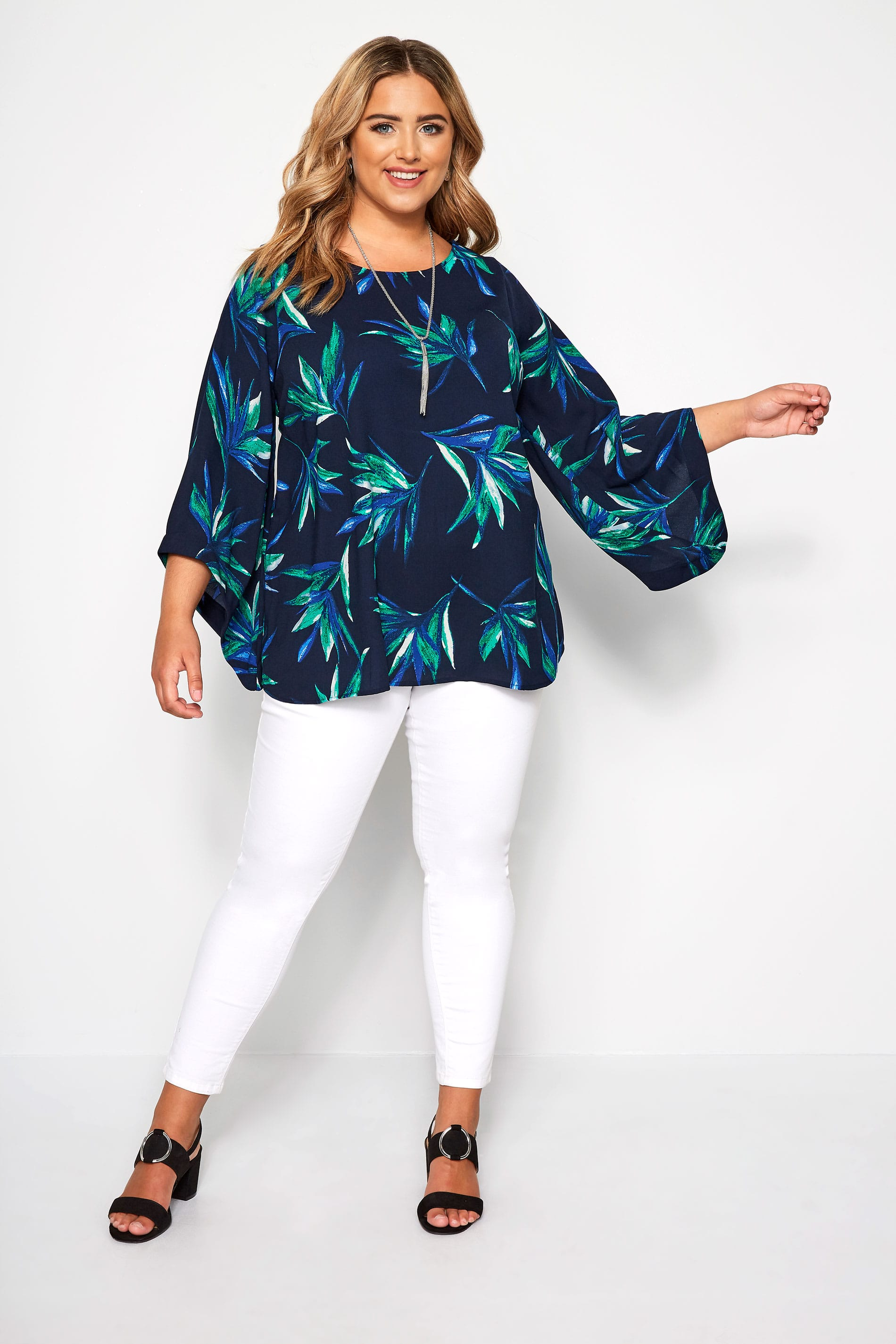 YOURS LONDON White Tropical Leaf Cape Top   Plus Size 16 to