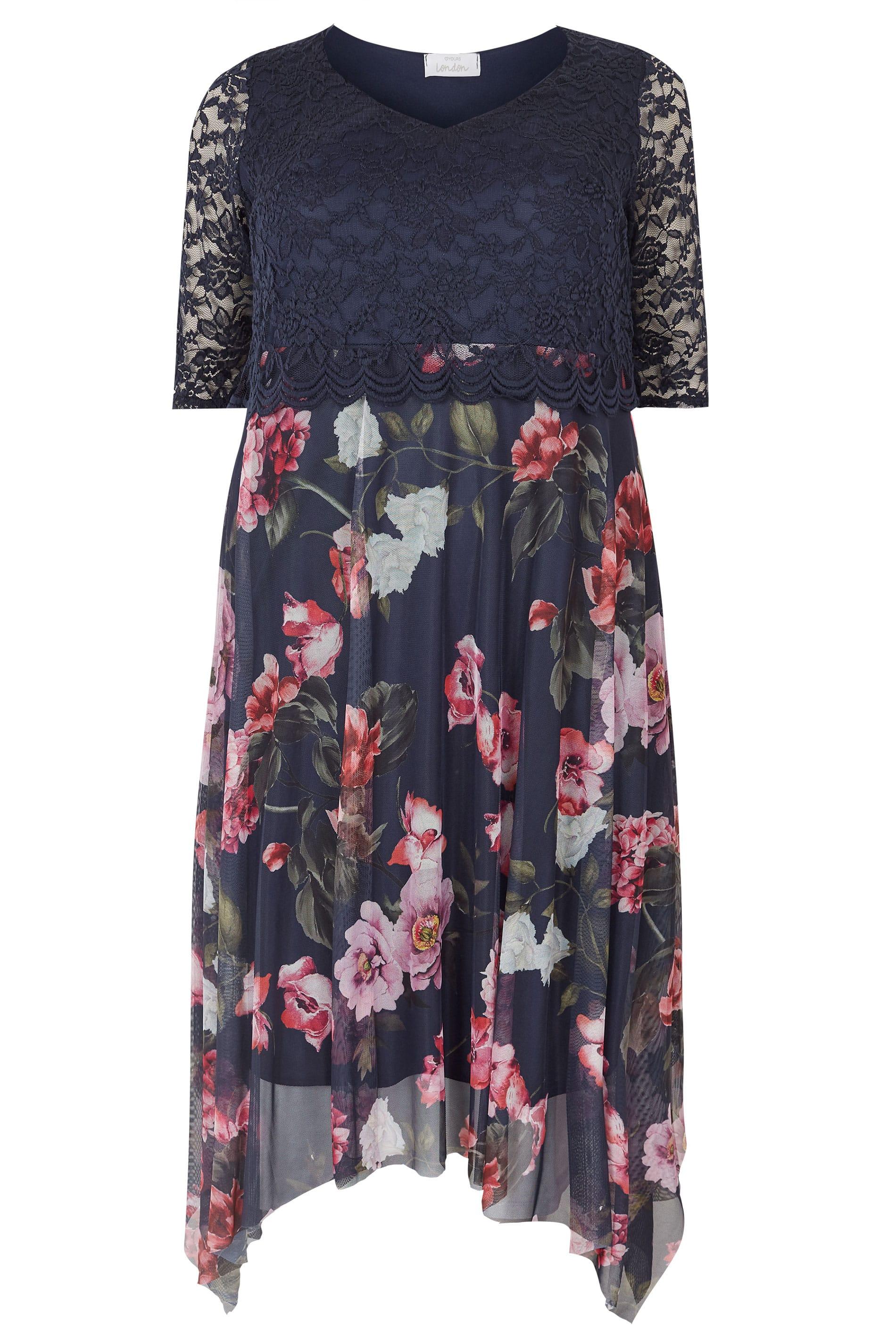 YOURS LONDON Navyblaues & Pinkes Kleid mit Blumenprint ...