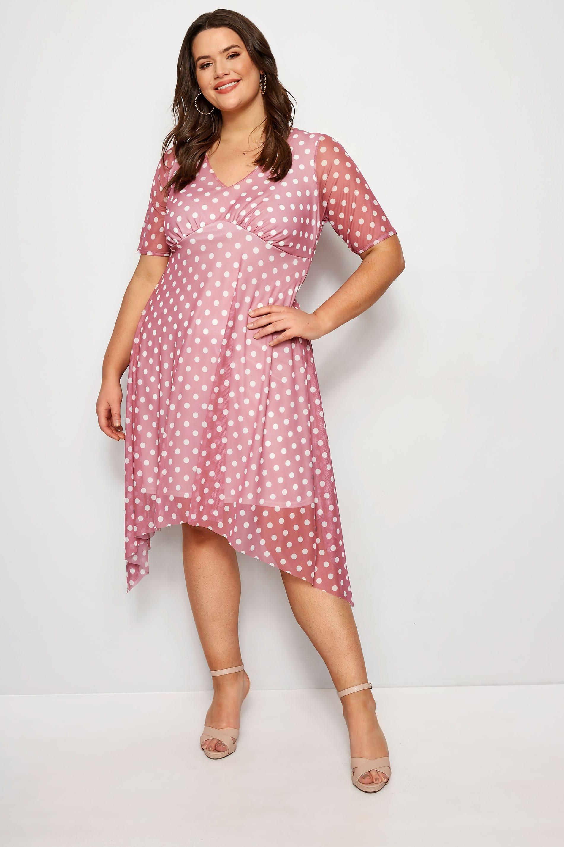yours london midi-kleid - rosa, große größen 44 bis 60