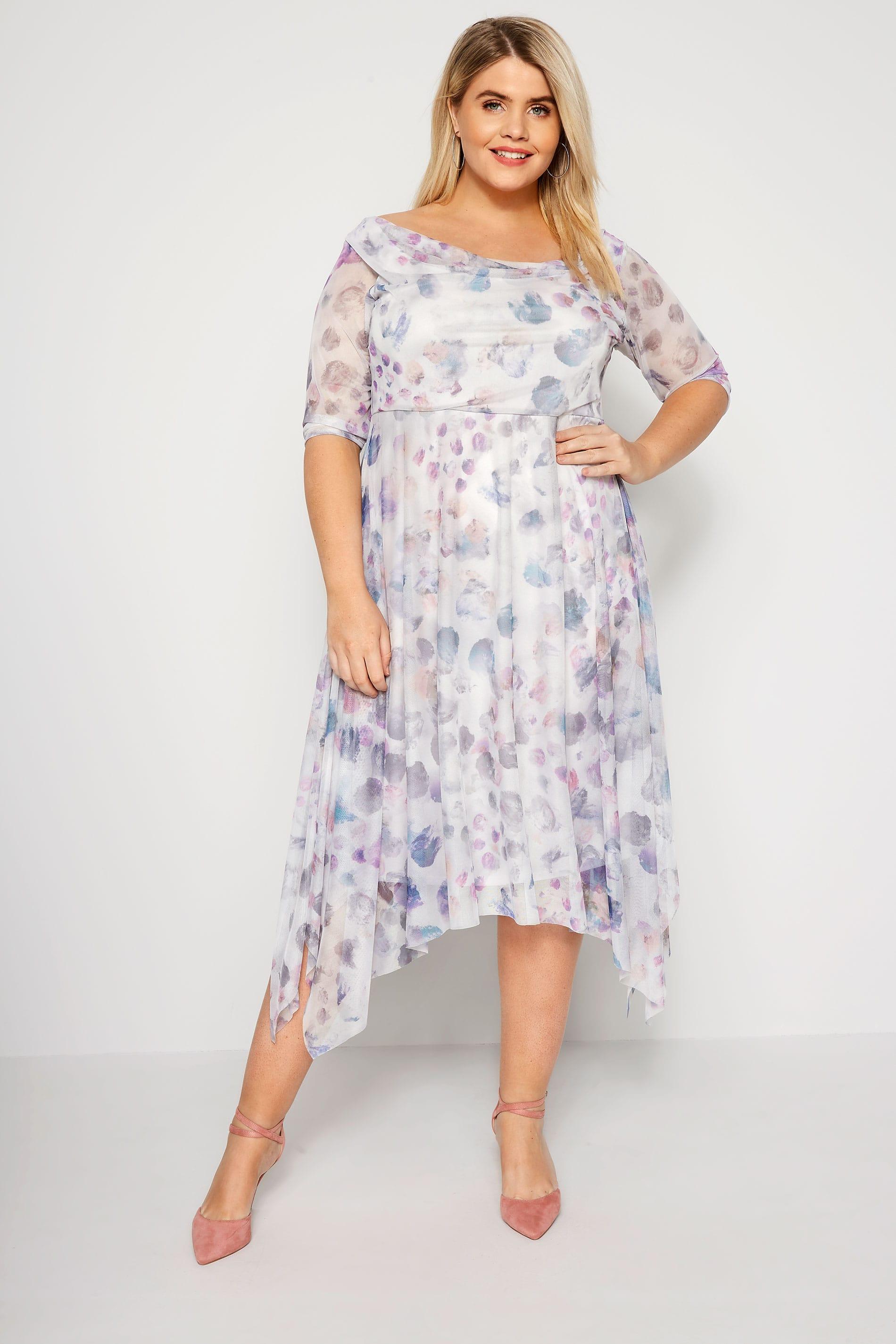 YOURS LONDON White & Dusky Grey Spot Midi Dress With Cowl Neck