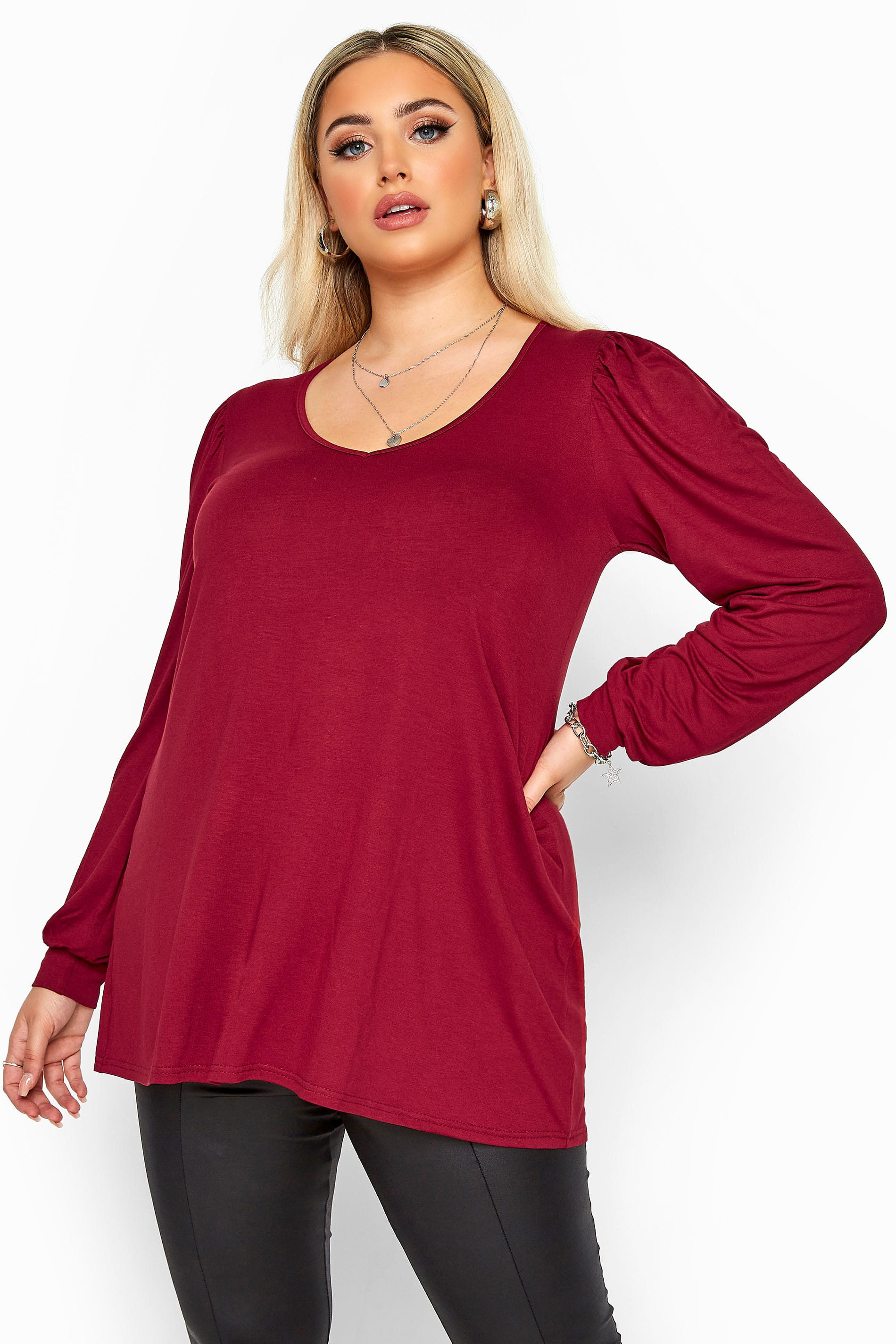 YOURS LONDON Wine Red Balloon Sleeve Top