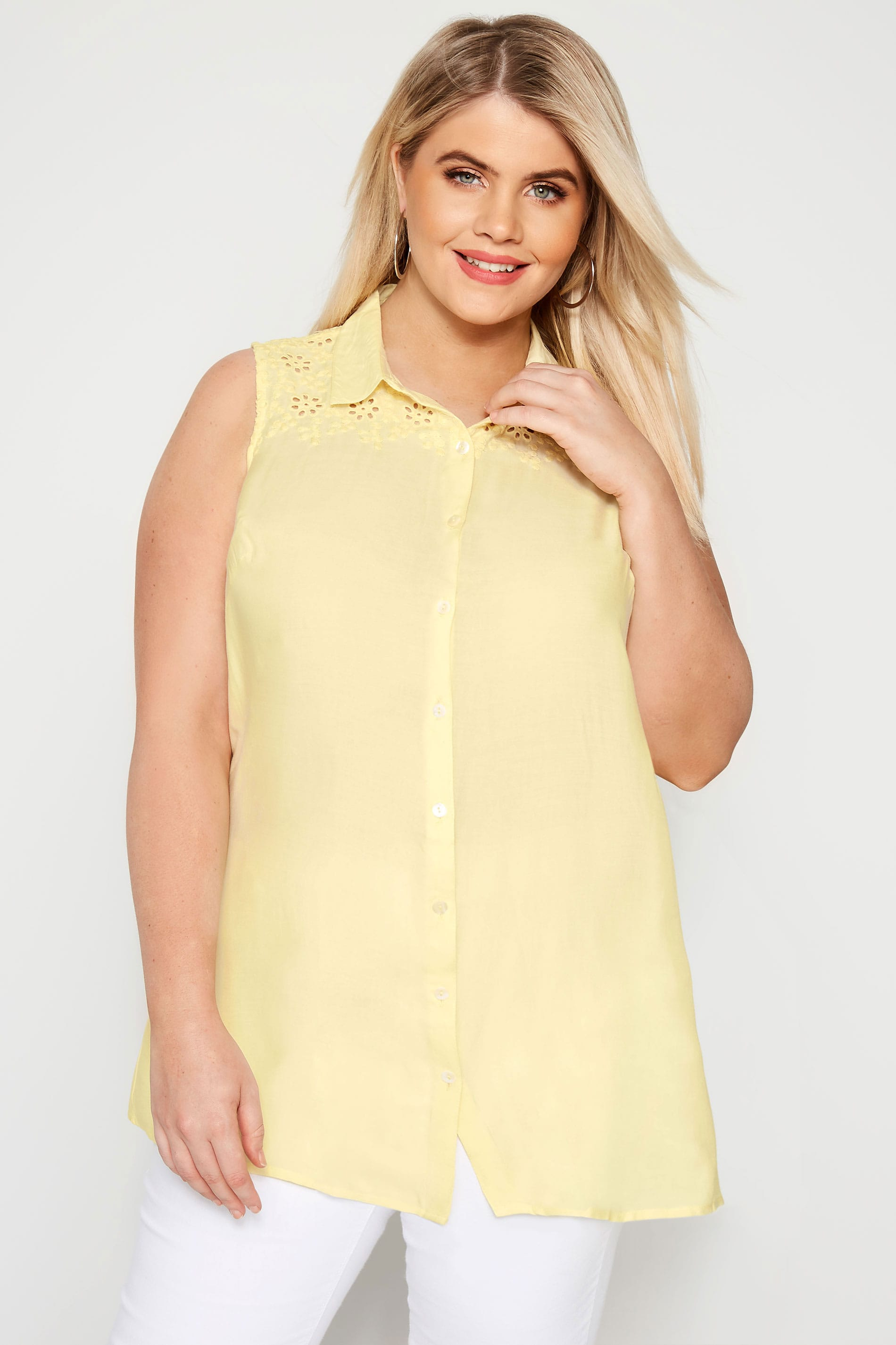 Yellow Broderie Sleeveless Shirt