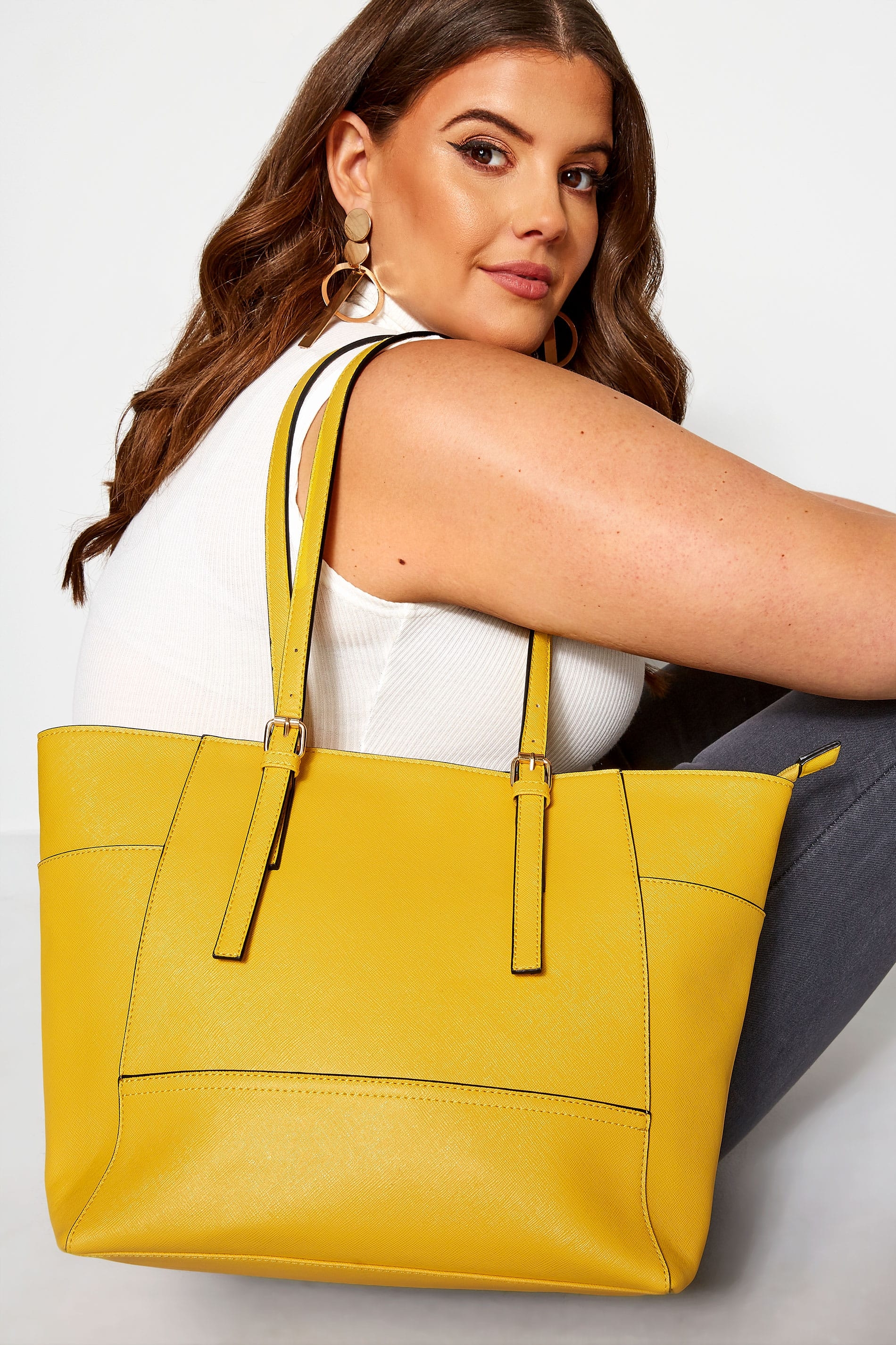 Yellow Contrast Detail Shopper Bag