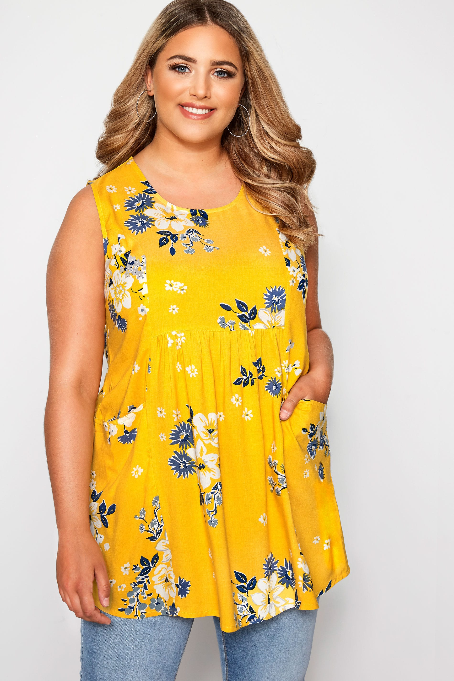Yellow Floral Pocket Blouse
