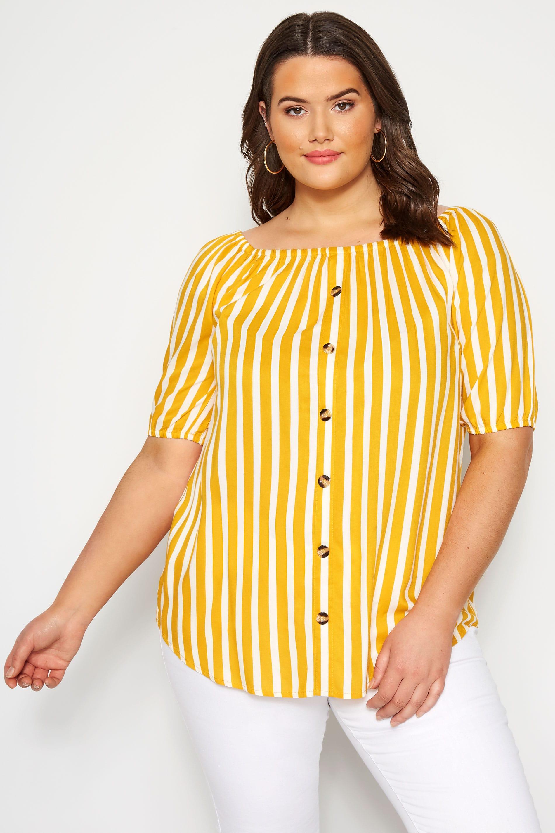 Yellow Stripe Bardot Top