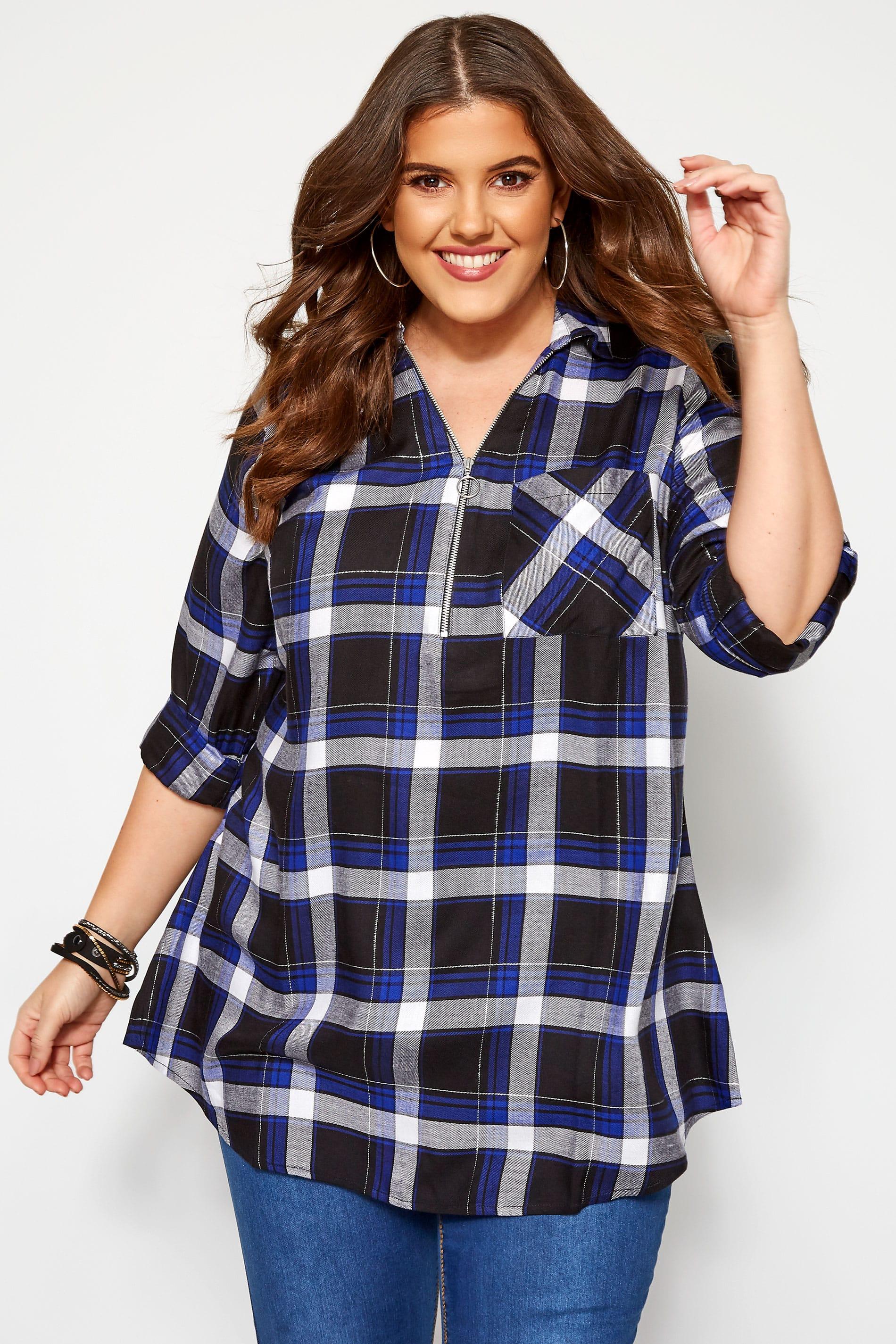 Cobalt Blue Metallic Check Shirt With Zip Front