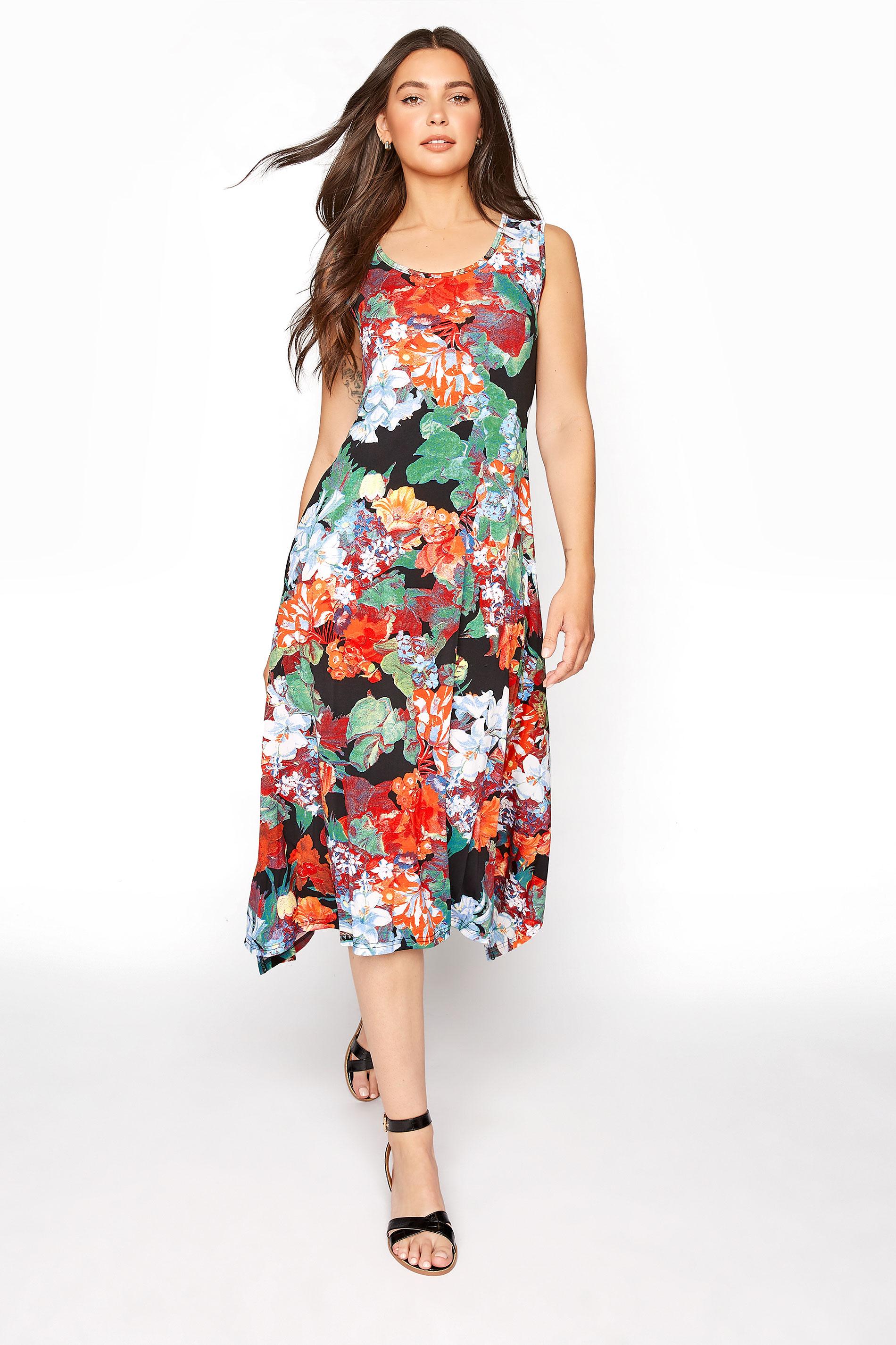LTS Multi Floral Hanky Hem Sleeveless Dress_A.jpg