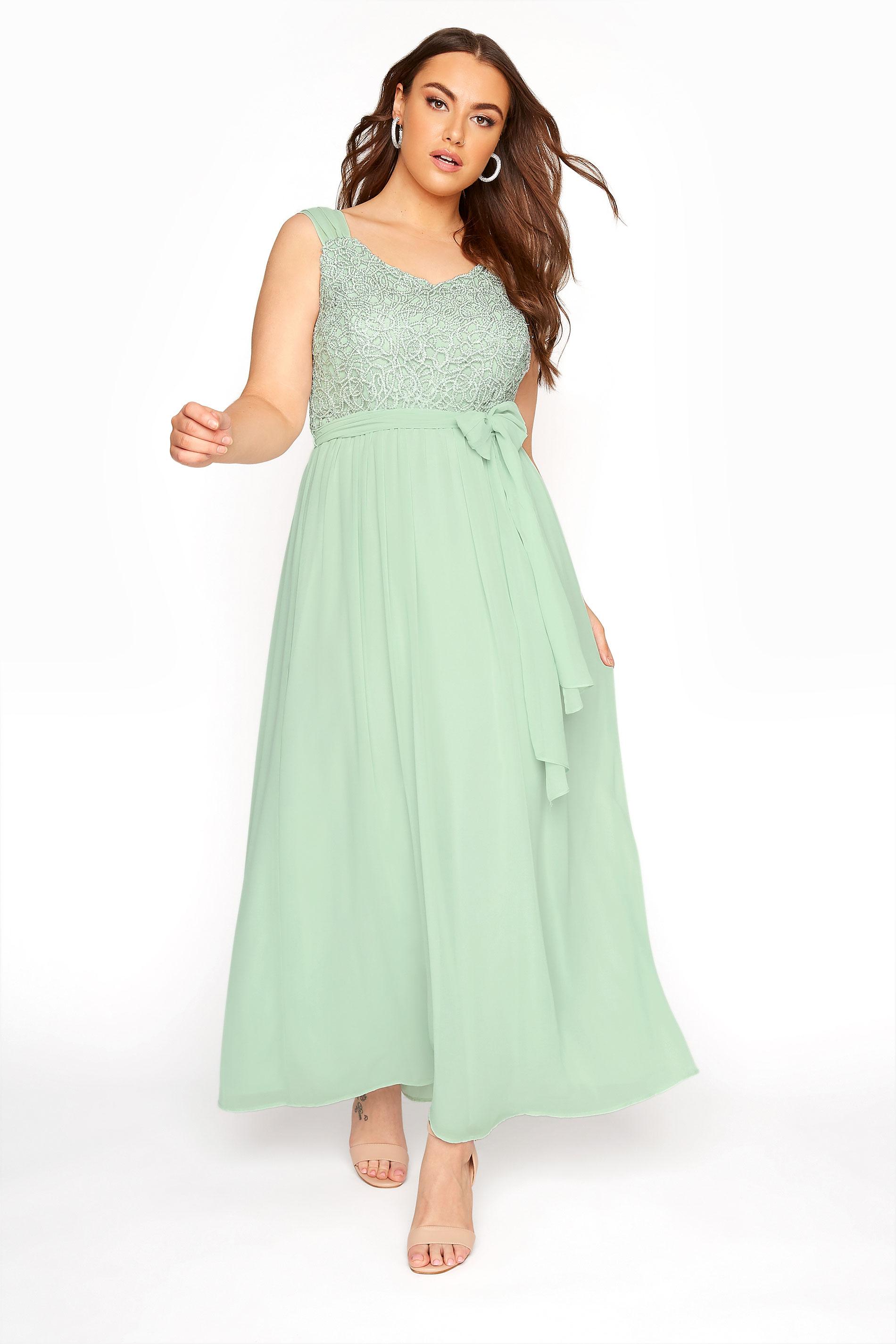 Mint Sleeveless Crochet Overlay Maxi Dress