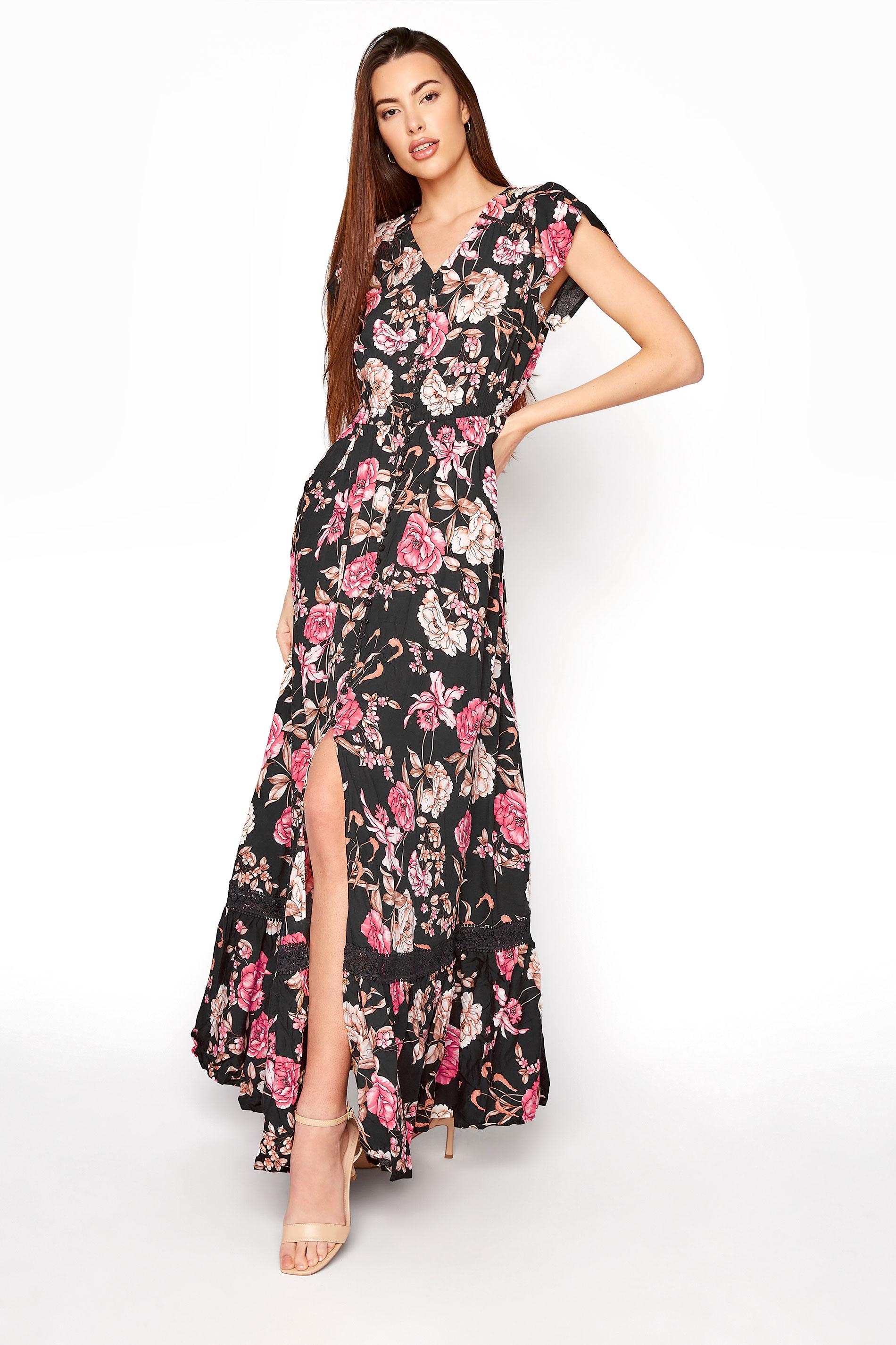 LTS Black Floral V-Neck Frill Hem Maxi Dress_A.jpg