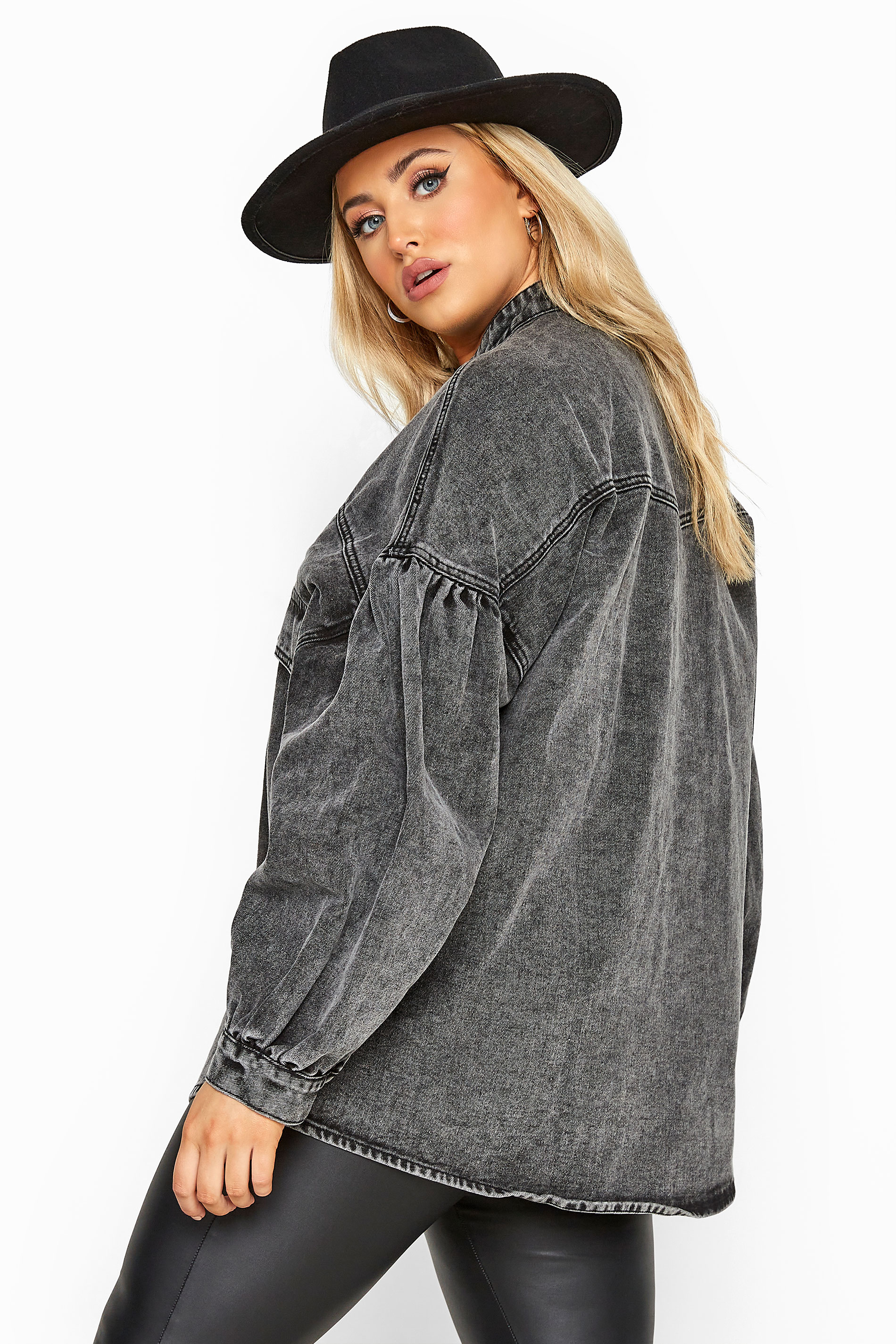 Grey Acid Wash Balloon Sleeve Denim Jacket