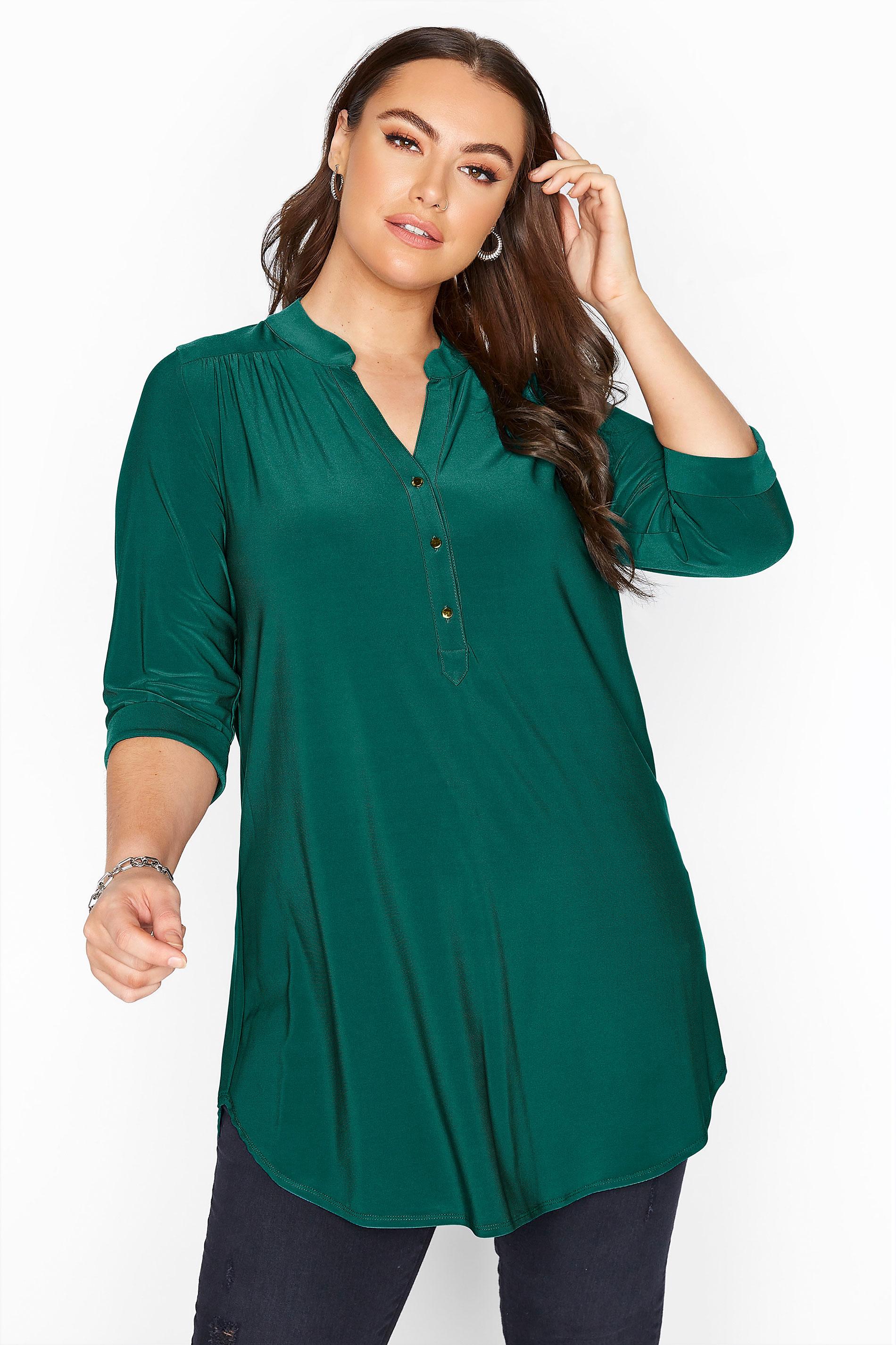 Teal Green Slinky Jersey Shirt