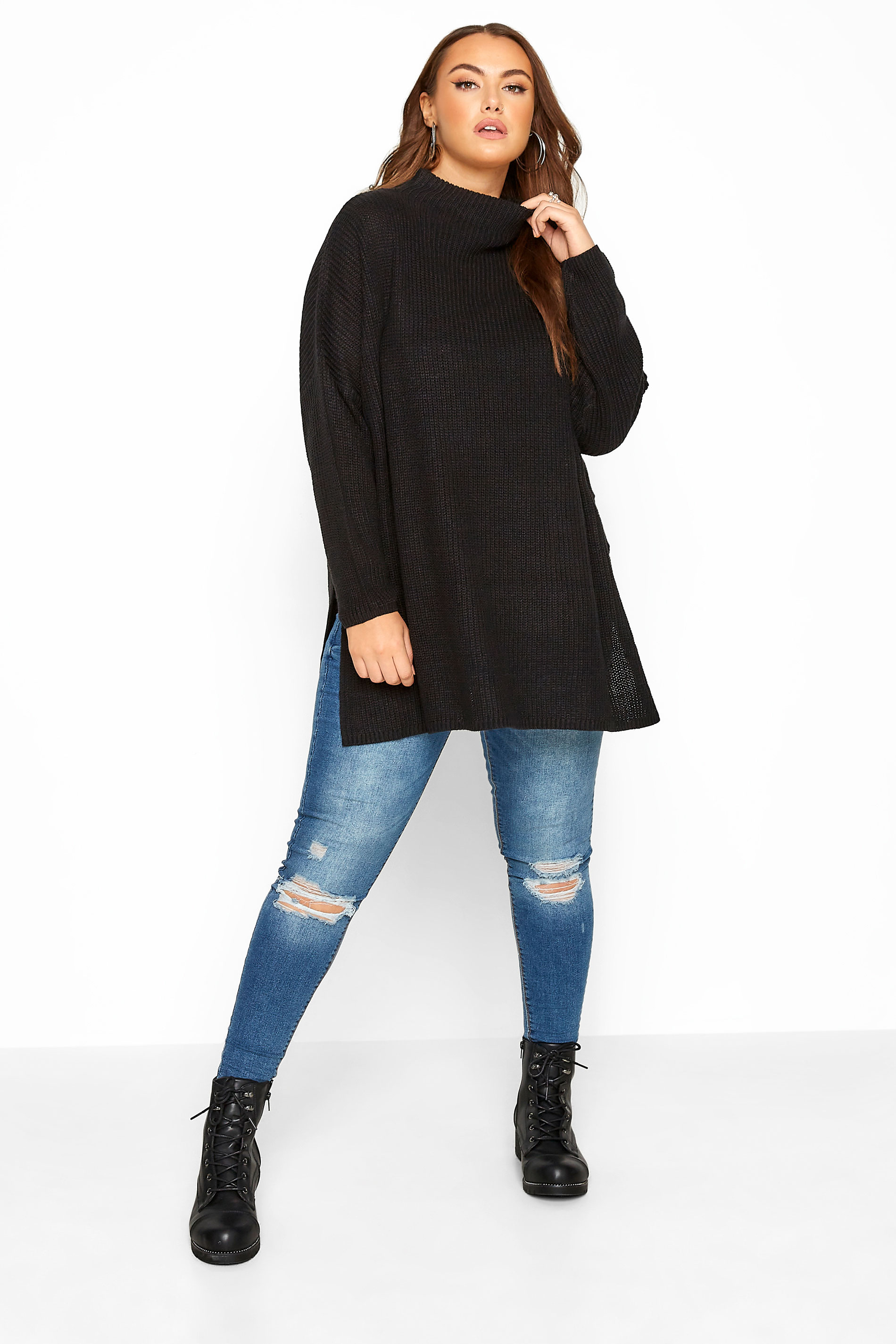 Black Split Hem Chunky Knitted Jumper