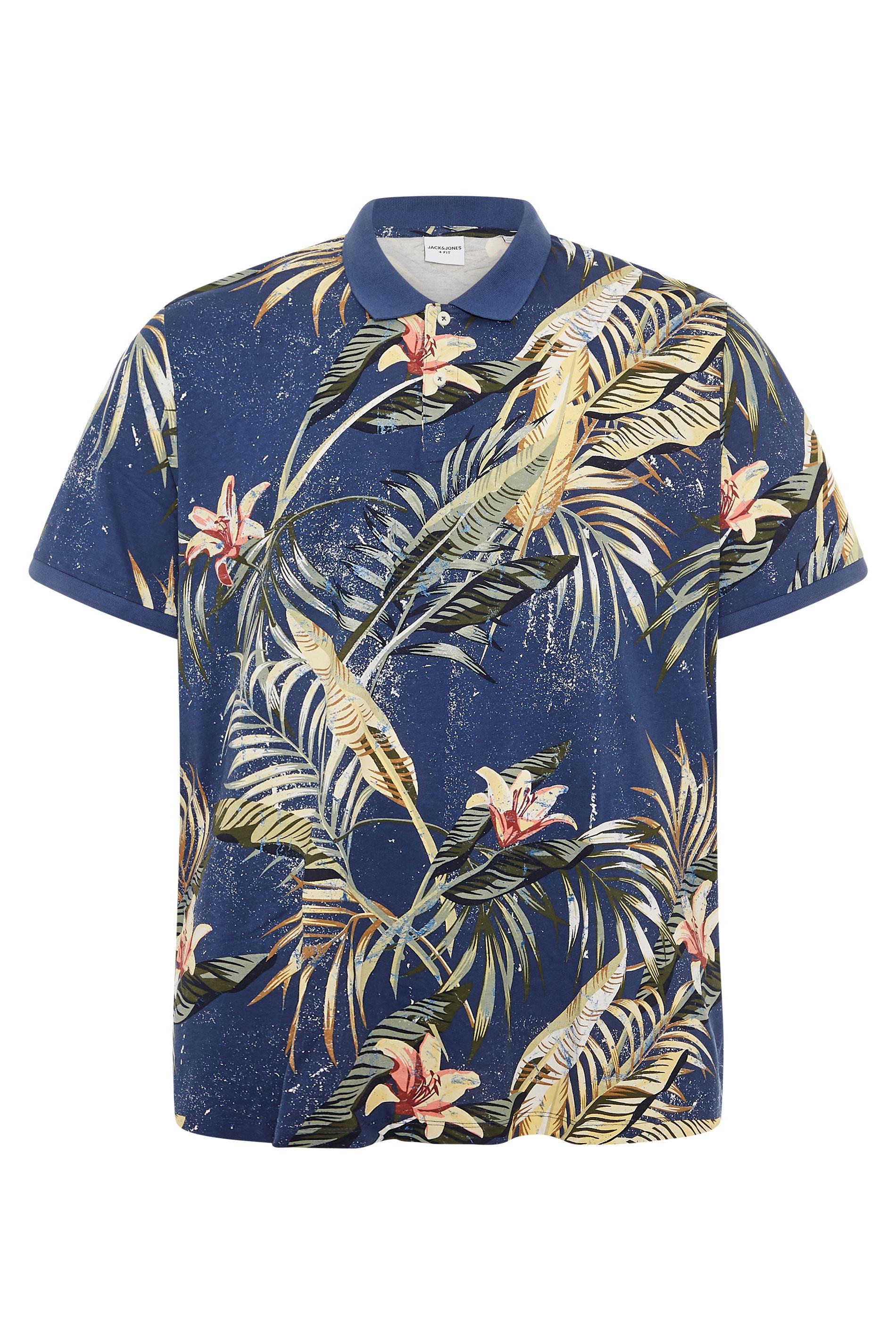 JACK & JONES Navy Tropical Print Polo Shirt
