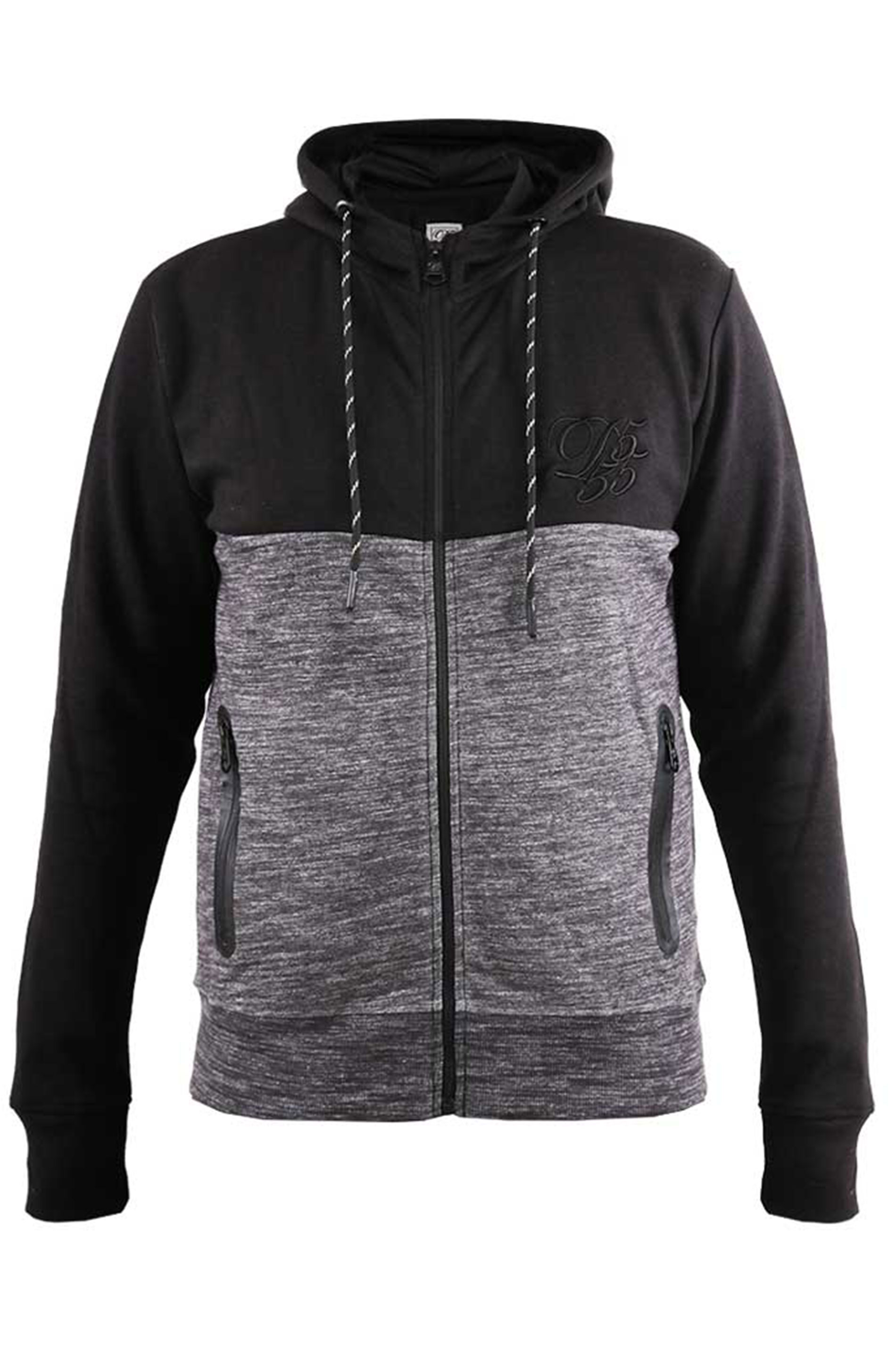 D555 Couture Black & Grey Colour Block Hoodie
