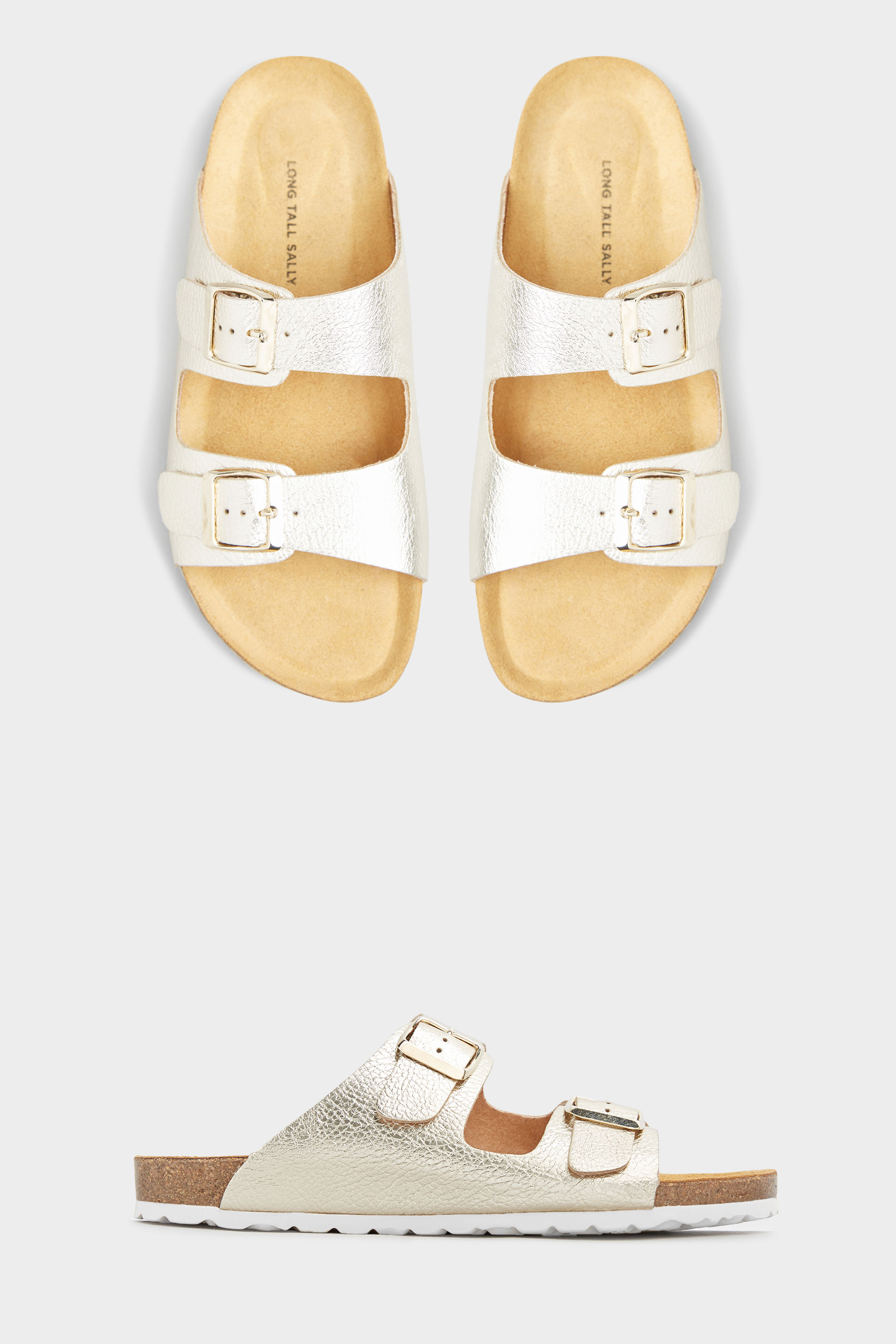 Gold Two Buckle Footbed Sandals