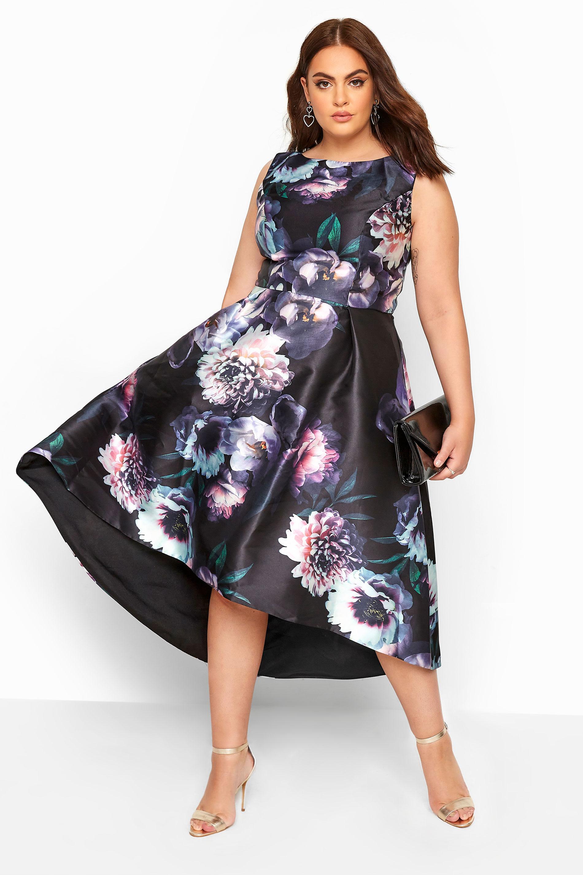 CHI CHI Black Floral High Low Dress