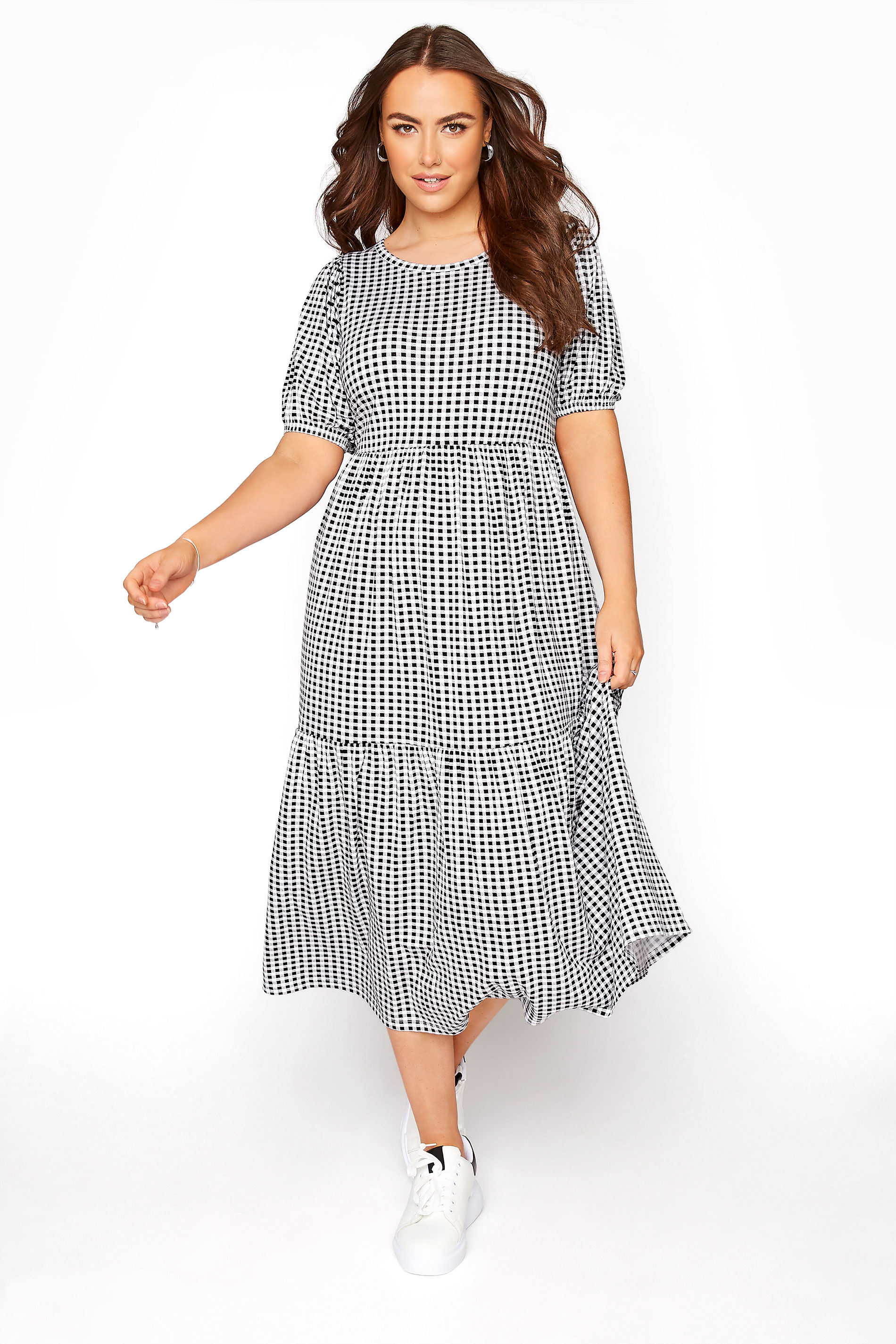 Black Gingham Print Puff Sleeve Midaxi Dress
