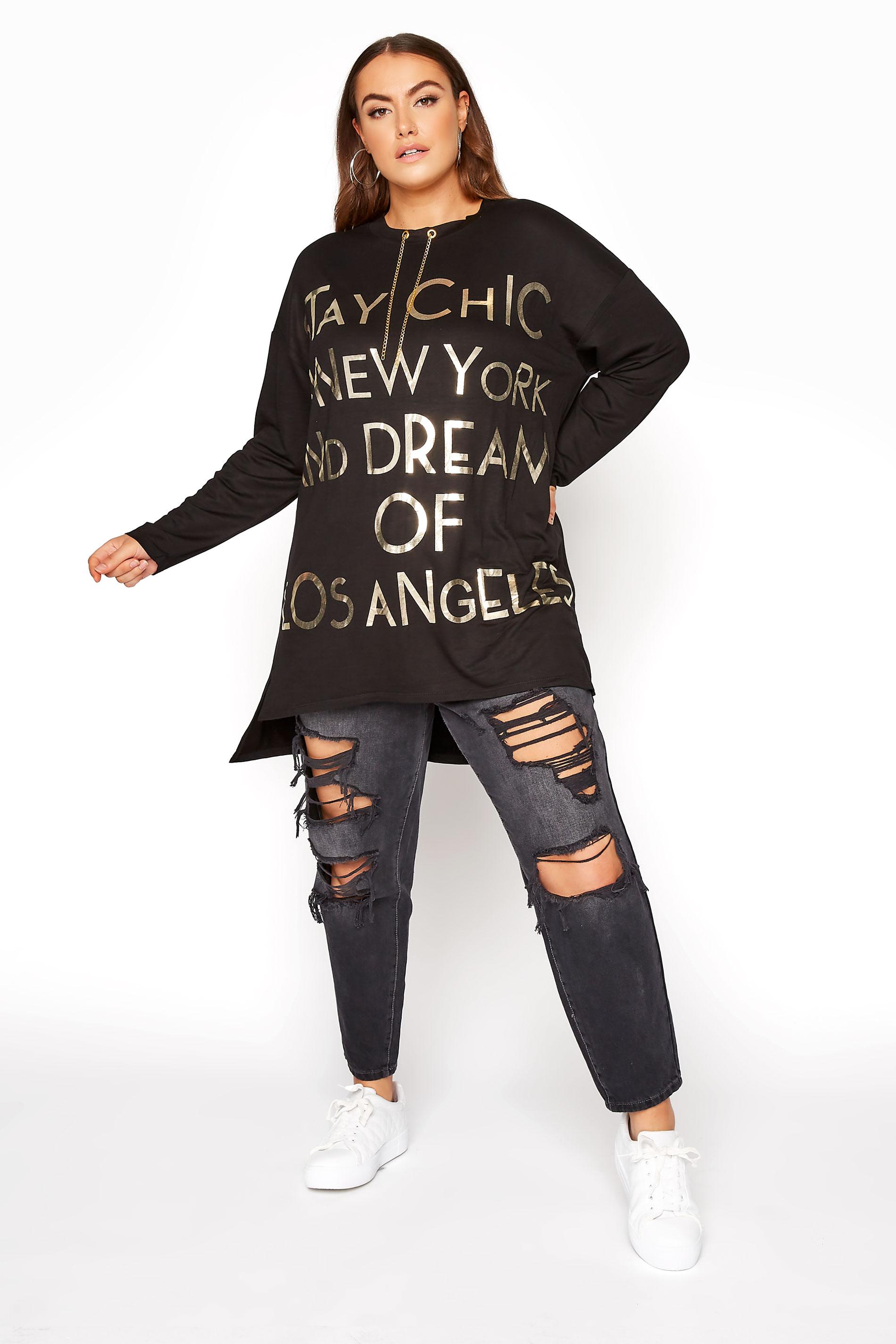Black Chain Detail Slogan Top