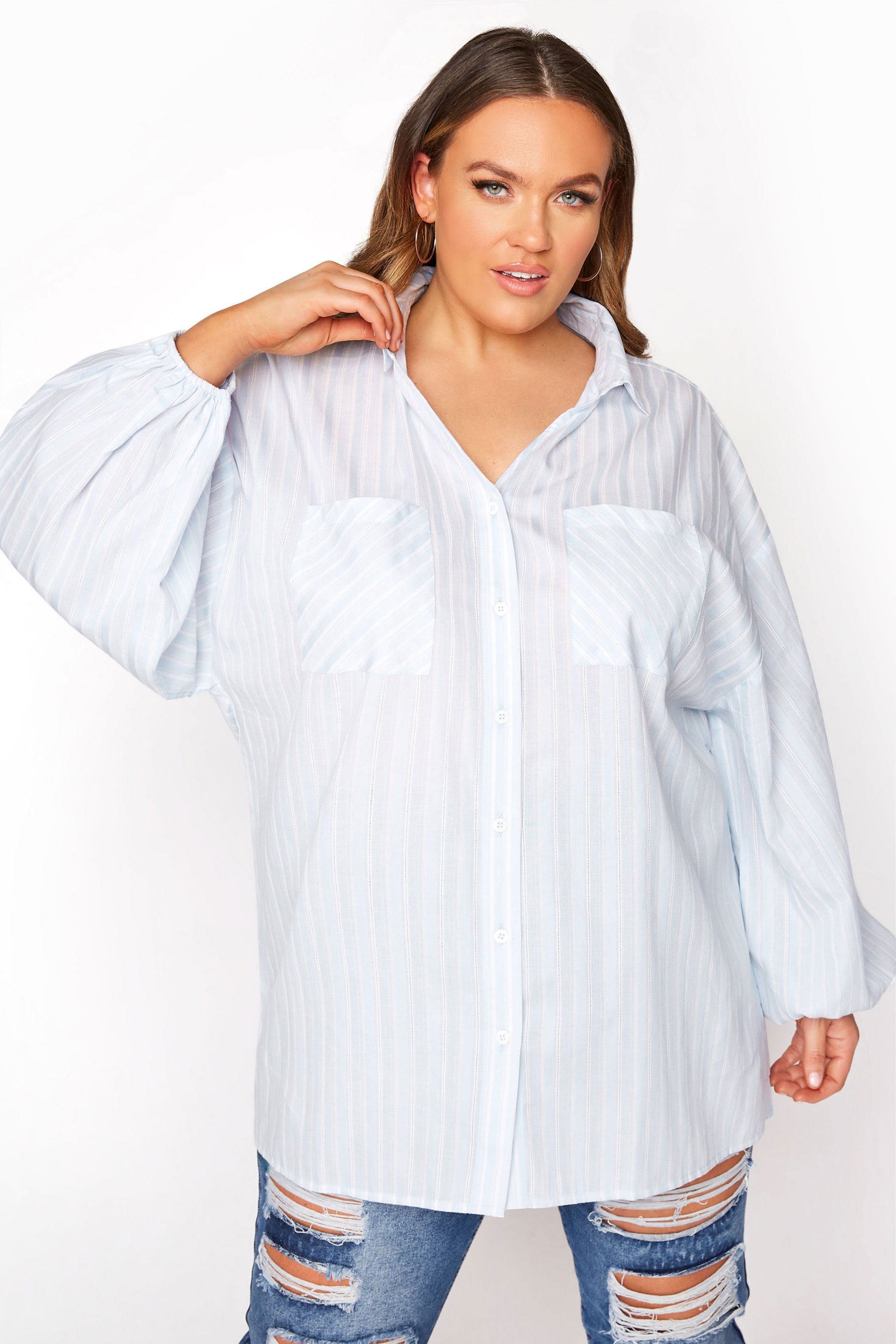 LIMITED COLLECTION Blue Stripe Balloon Sleeve Shirt
