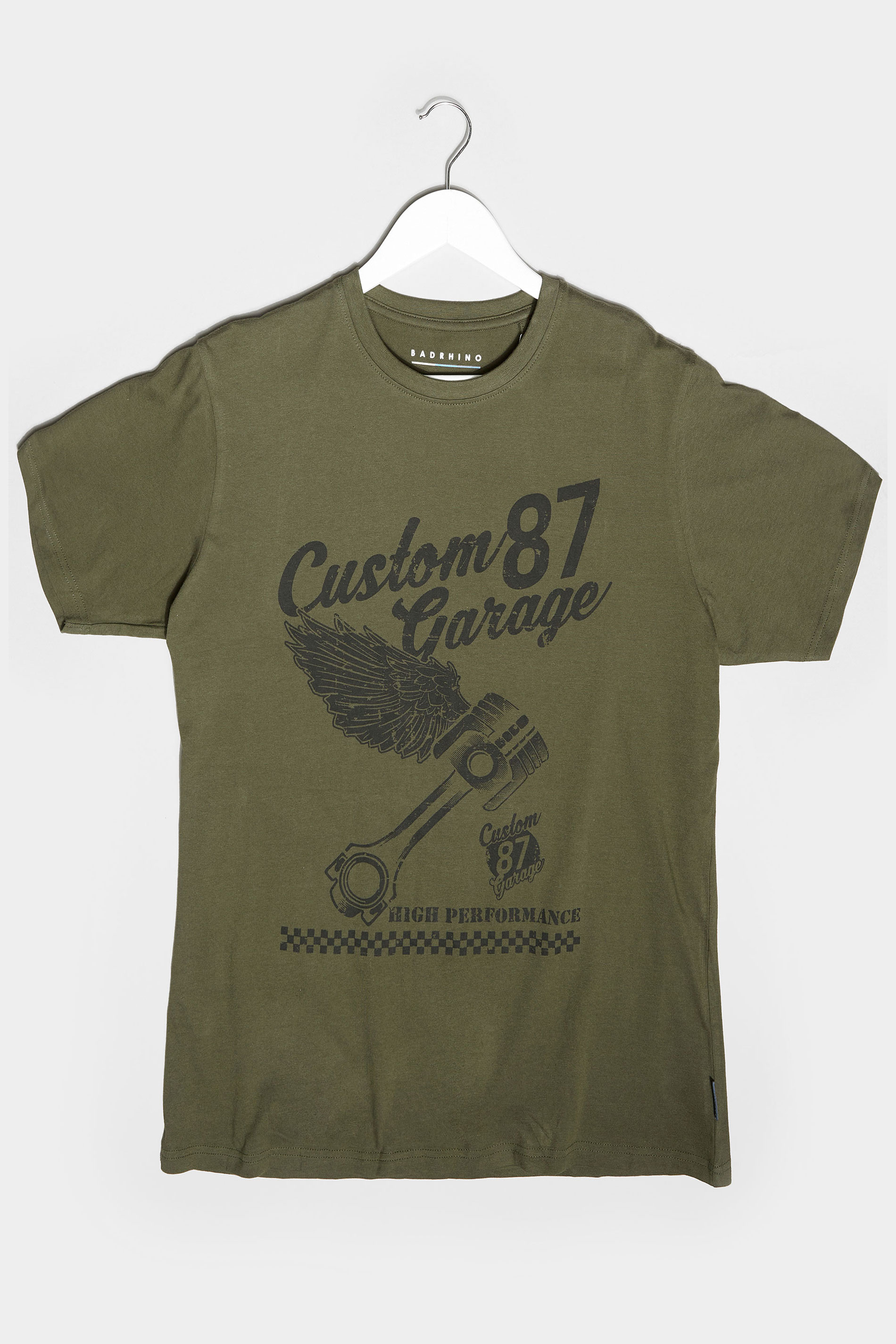 BadRhino Khaki Custom Garage Graphic Print T-Shirt
