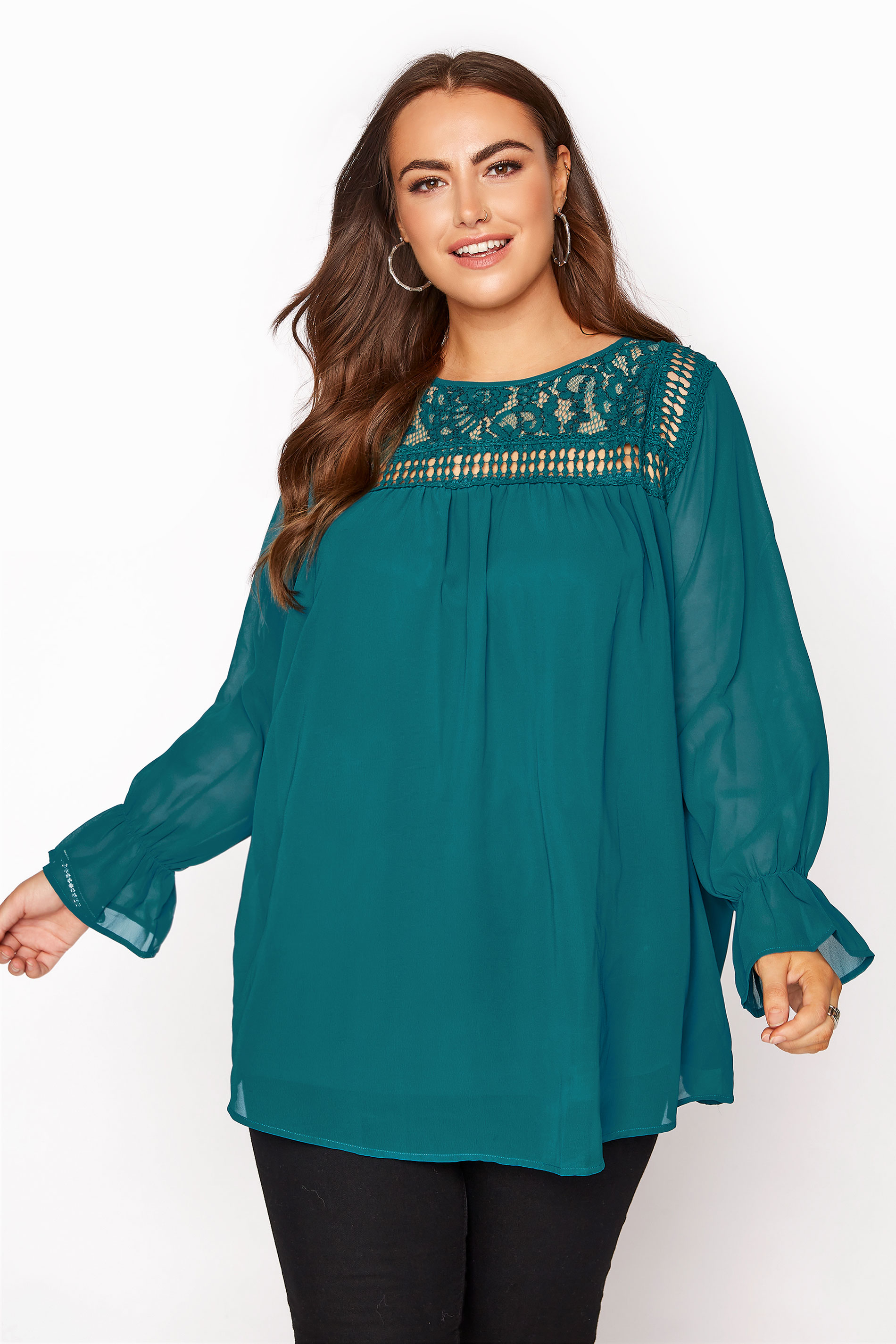 YOURS LONDON Teal Lace Blouse_A.jpg