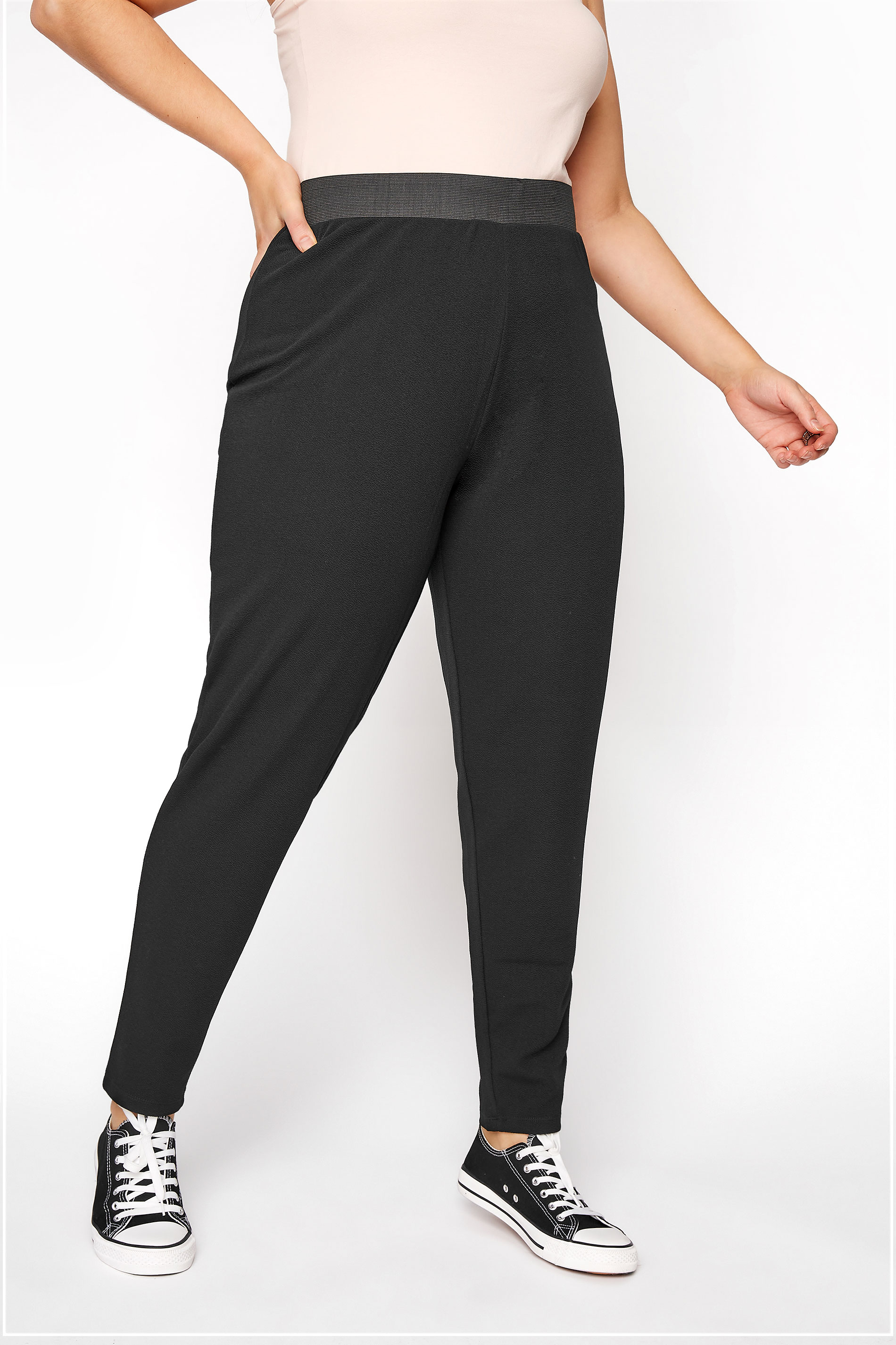 YOURS LONDON Black Tapered Trousers_B.jpg