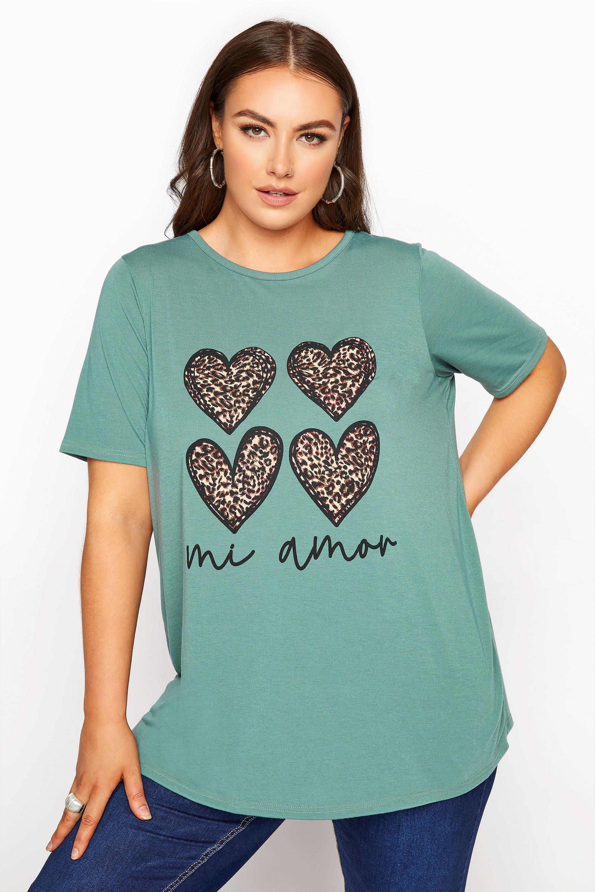 LIMITED COLLECTION Sage 'Mi Amor' Slogan Printed T-Shirt_A.jpg