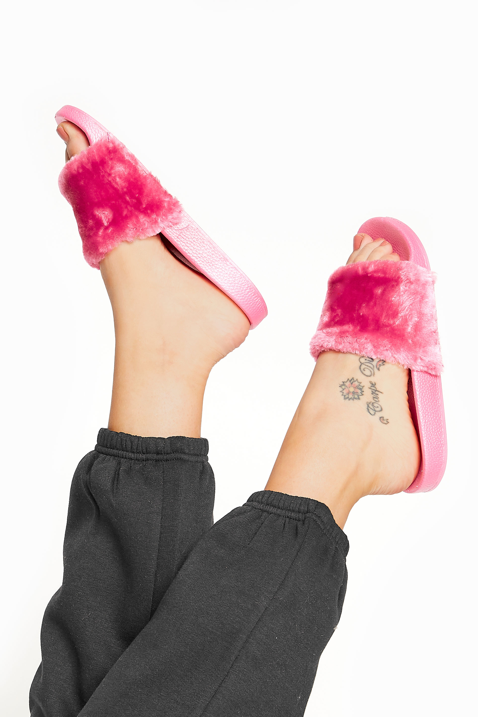 Pink Vegan Fur Sliders In Regular Fit