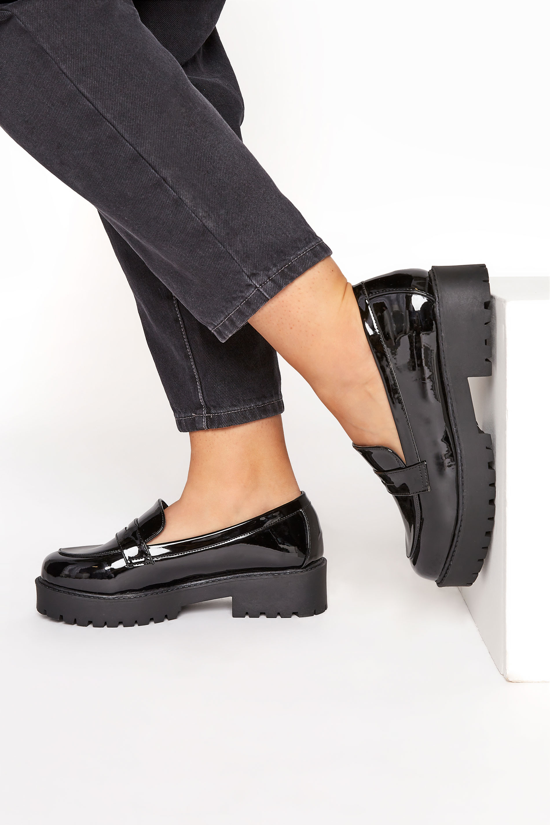 Black Patent Chunky Loafers In Extra Wide Fit_M.jpg