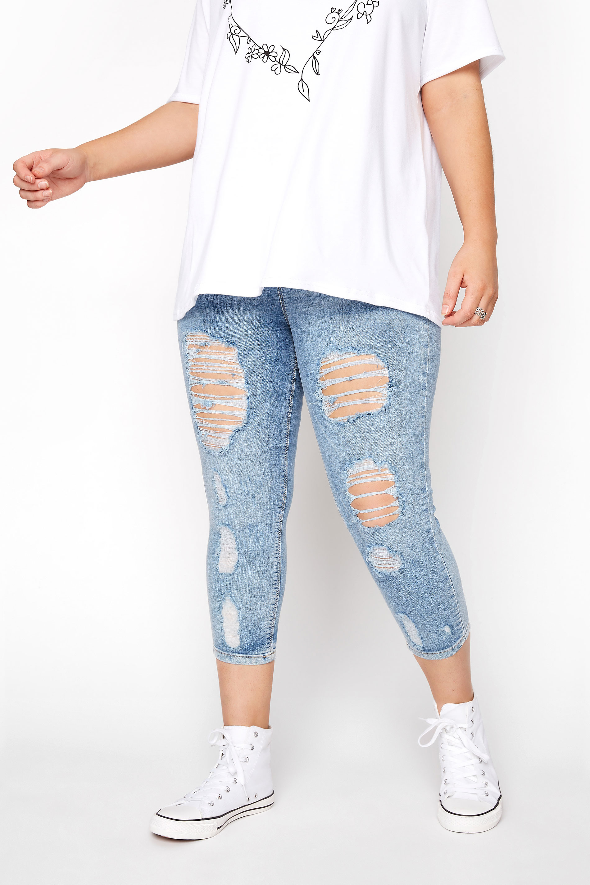 Light Blue Extreme Distressed Cropped JENNY Jeggings
