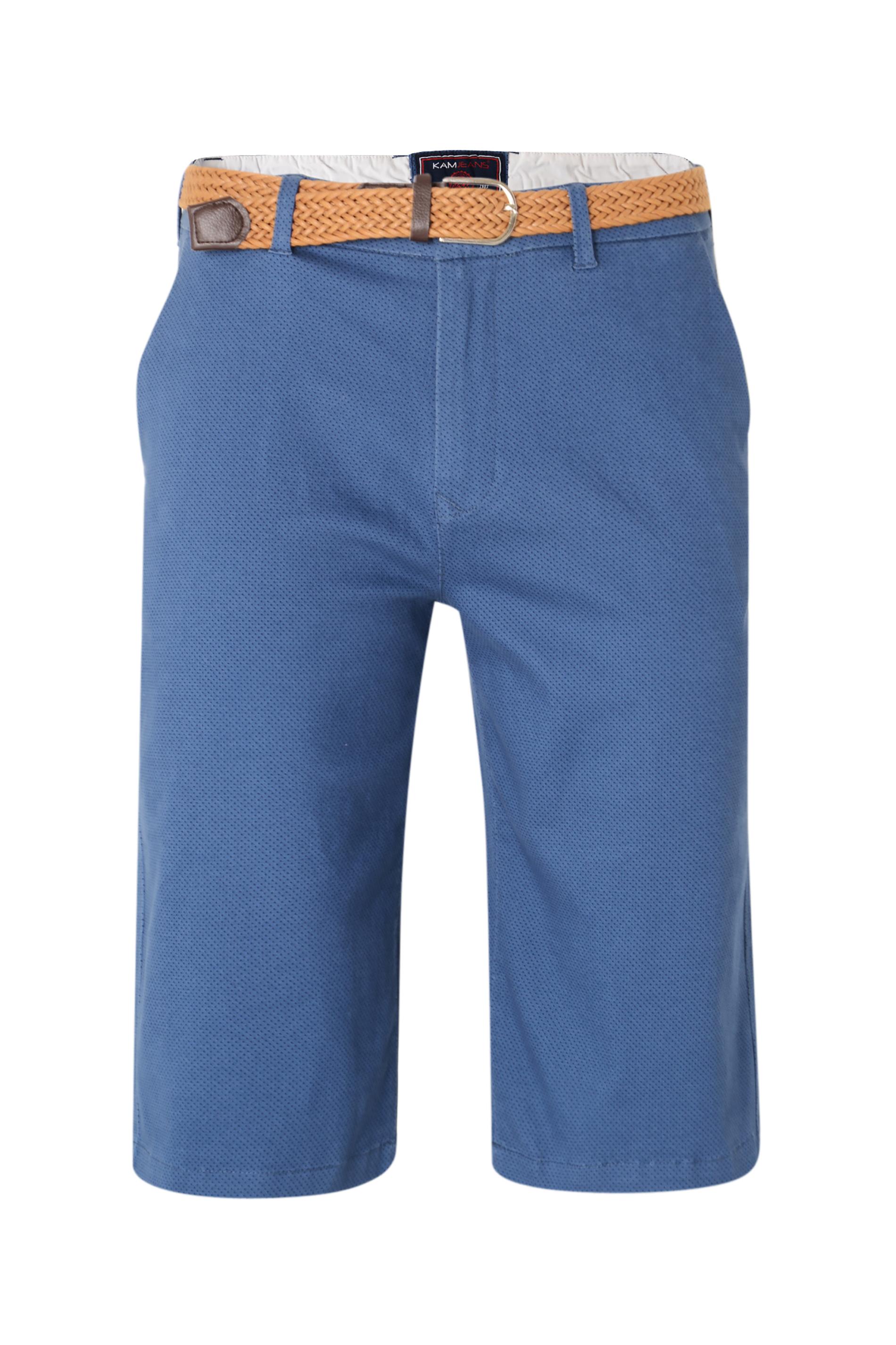 KAM Blue Belted Dobby Print Woven Short