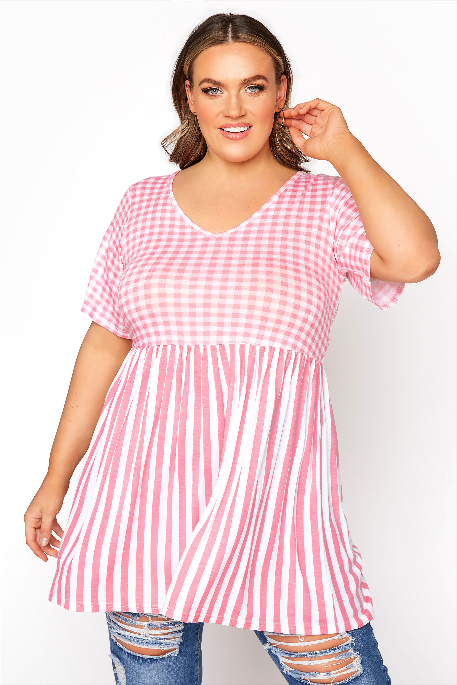 LIMITED COLLECTION Blush Pink Gingham Stripe Mix Top_A.jpg