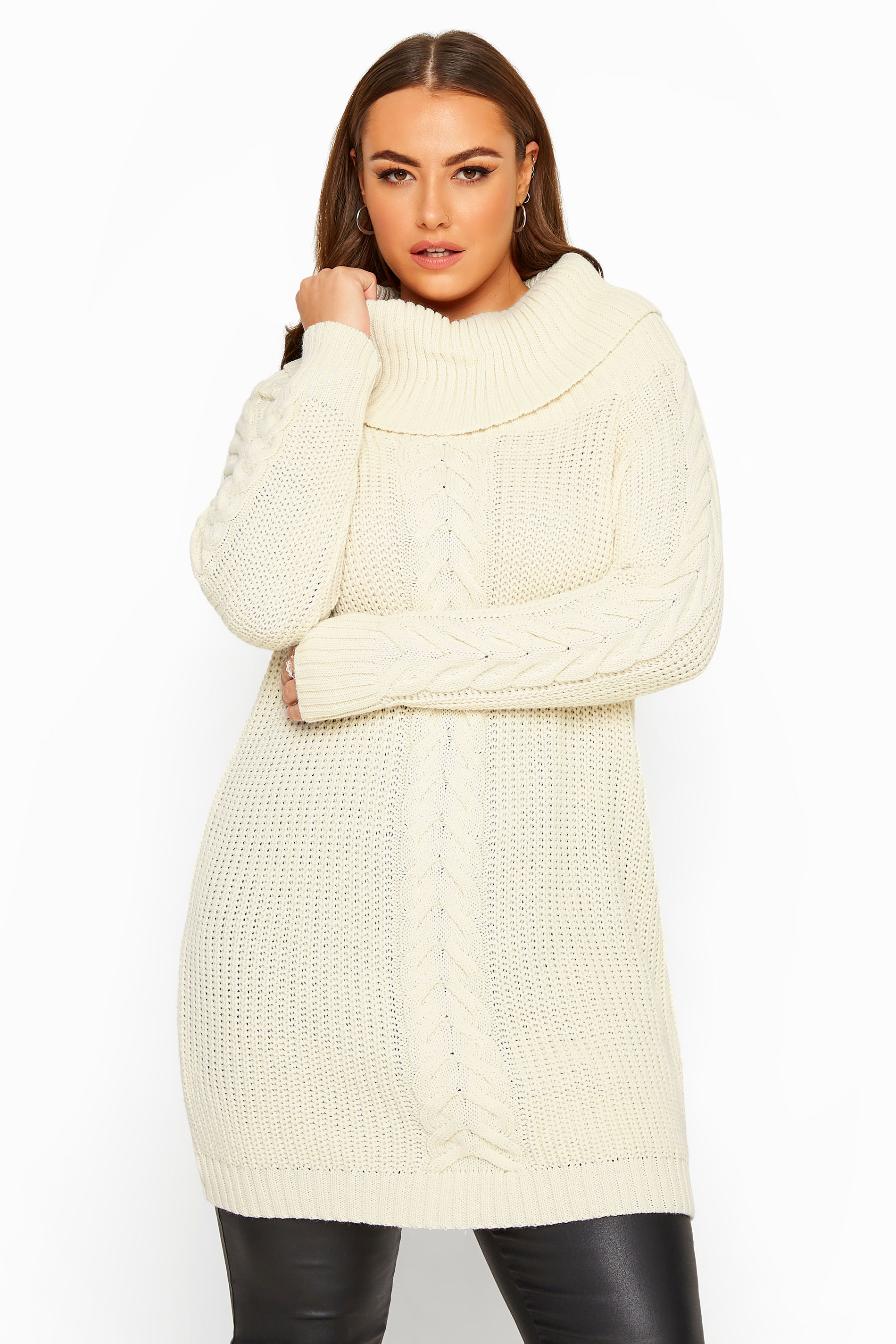 Cream Cable Knit Longline Jumper