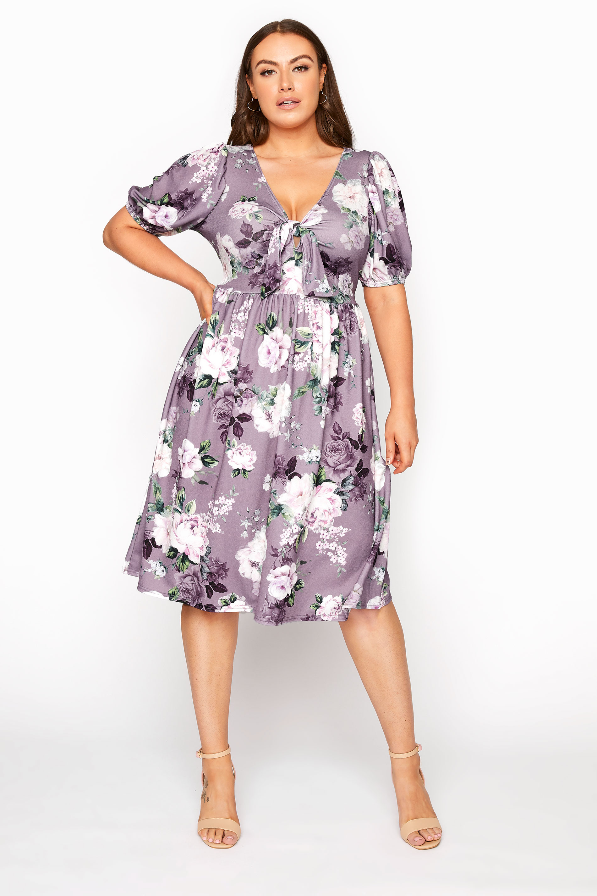 YOURS LONDON Lilac Floral Bow Front Dress_A.jpg