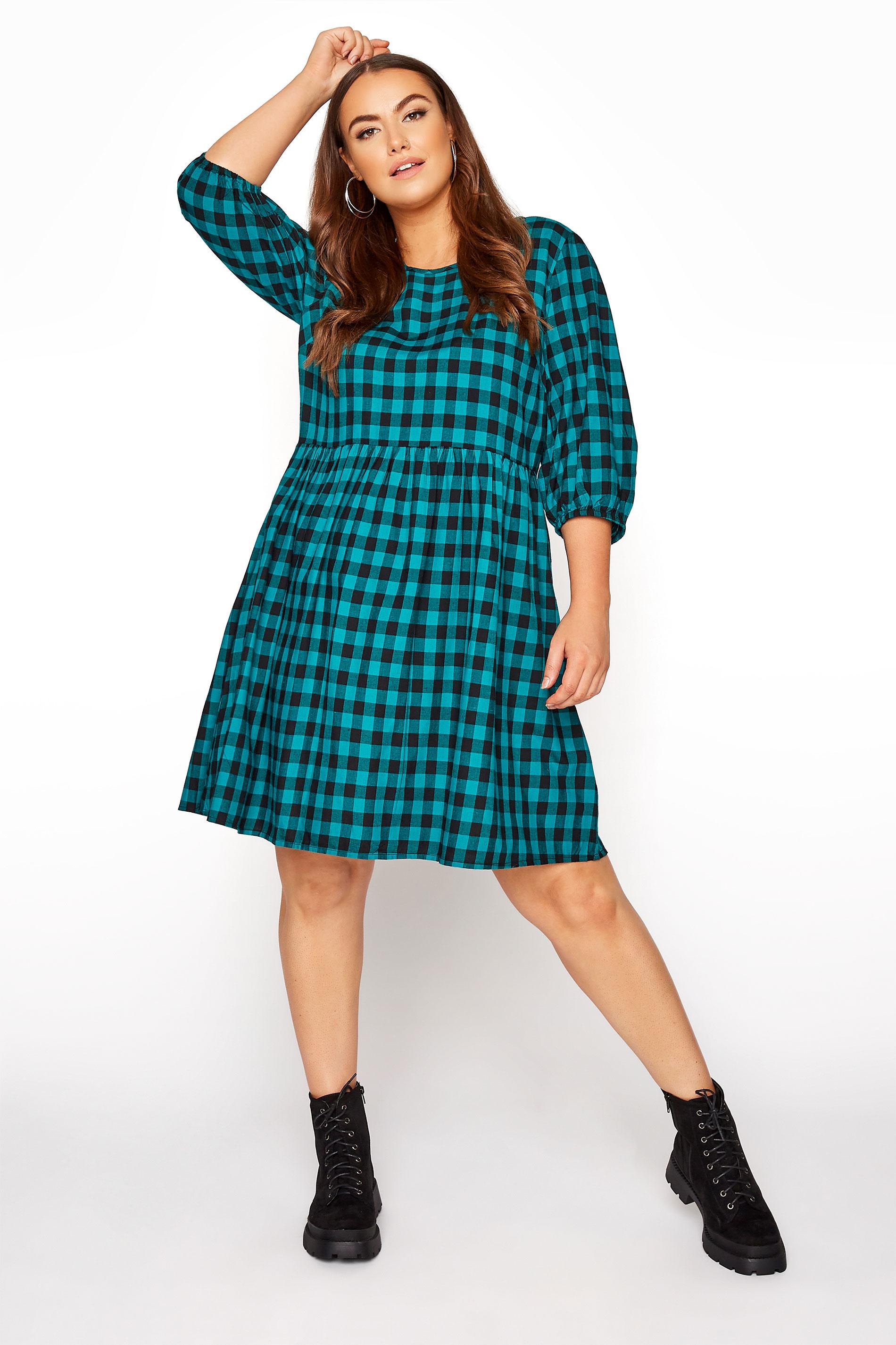 Teal Gingham Peplum Dress_A.jpg
