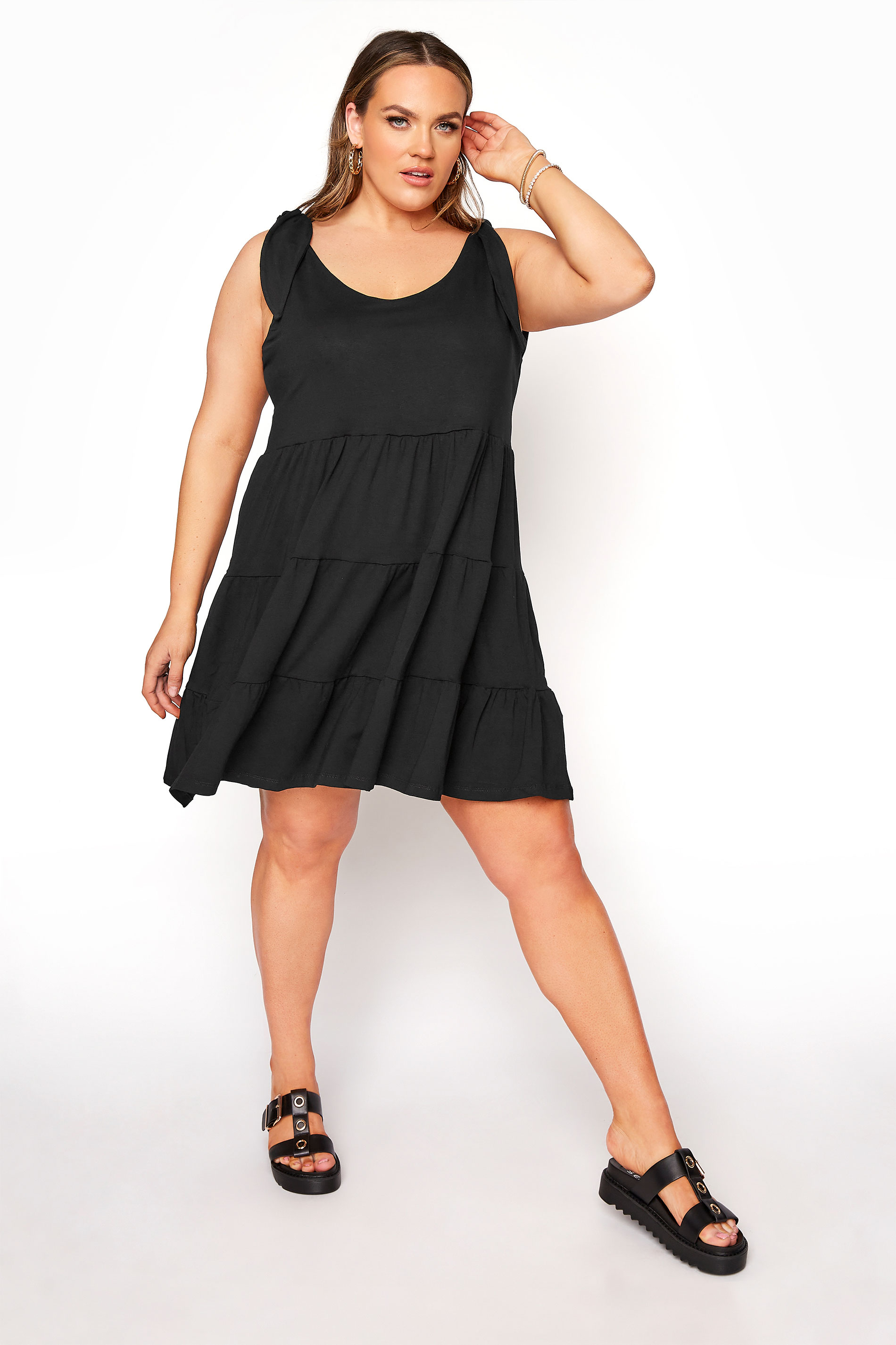 LIMITED COLLECTION Black Tiered Jersey Dress_A.jpg