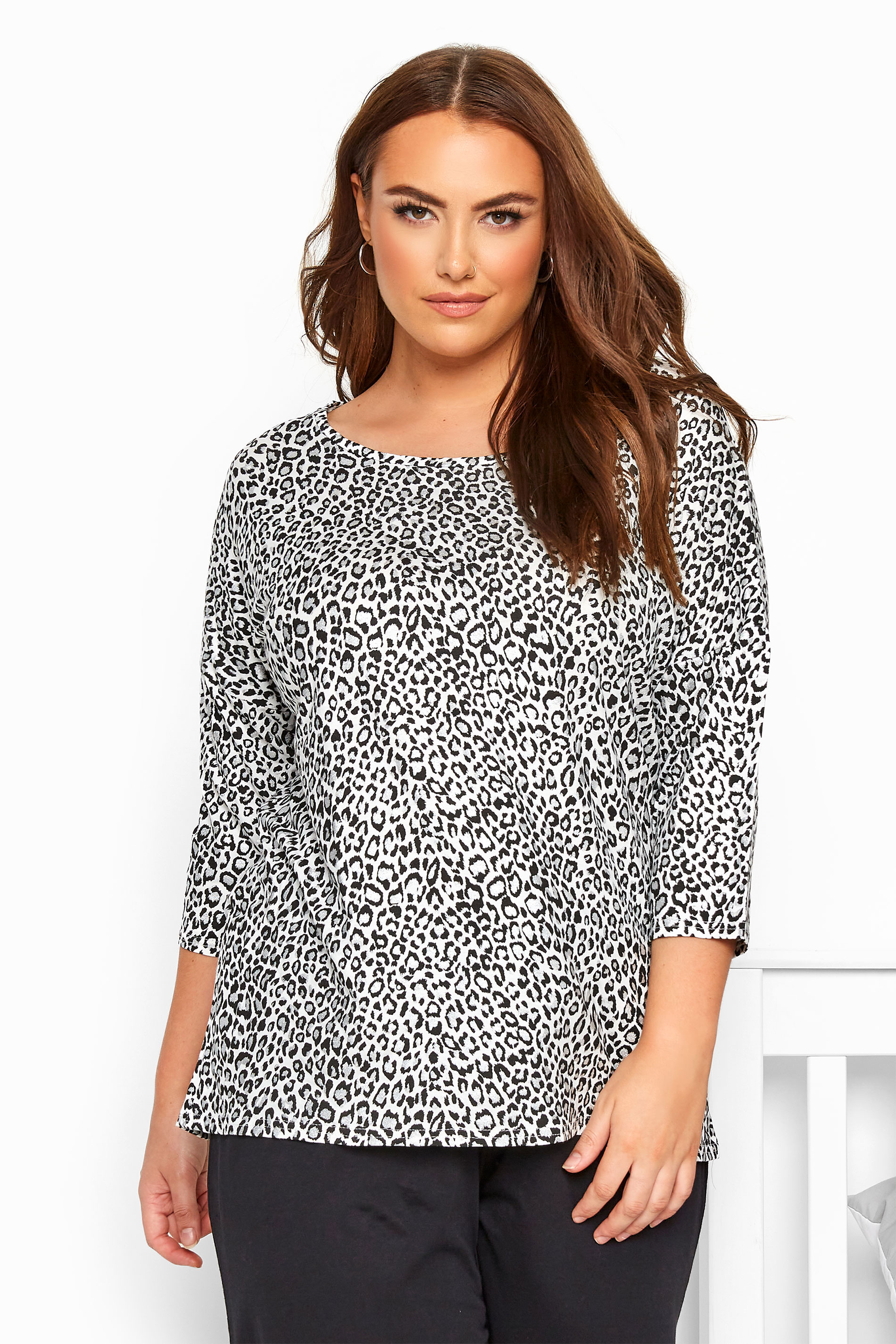 White Glitter Leopard Print Lounge Top