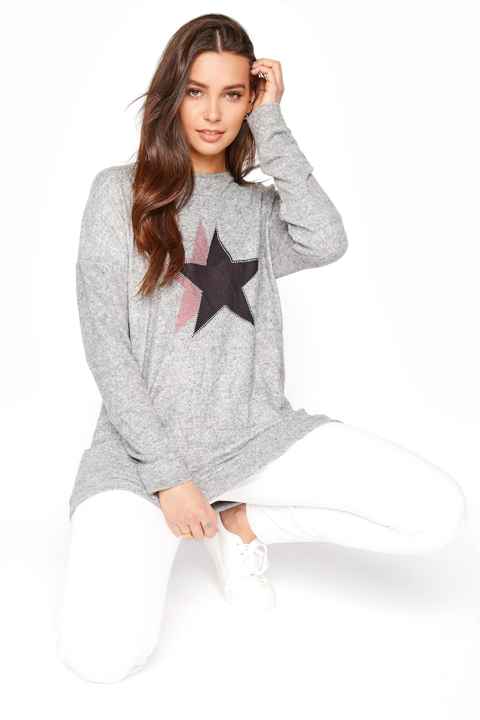 LTS Grey Star Diamante Detail Sweatshirt