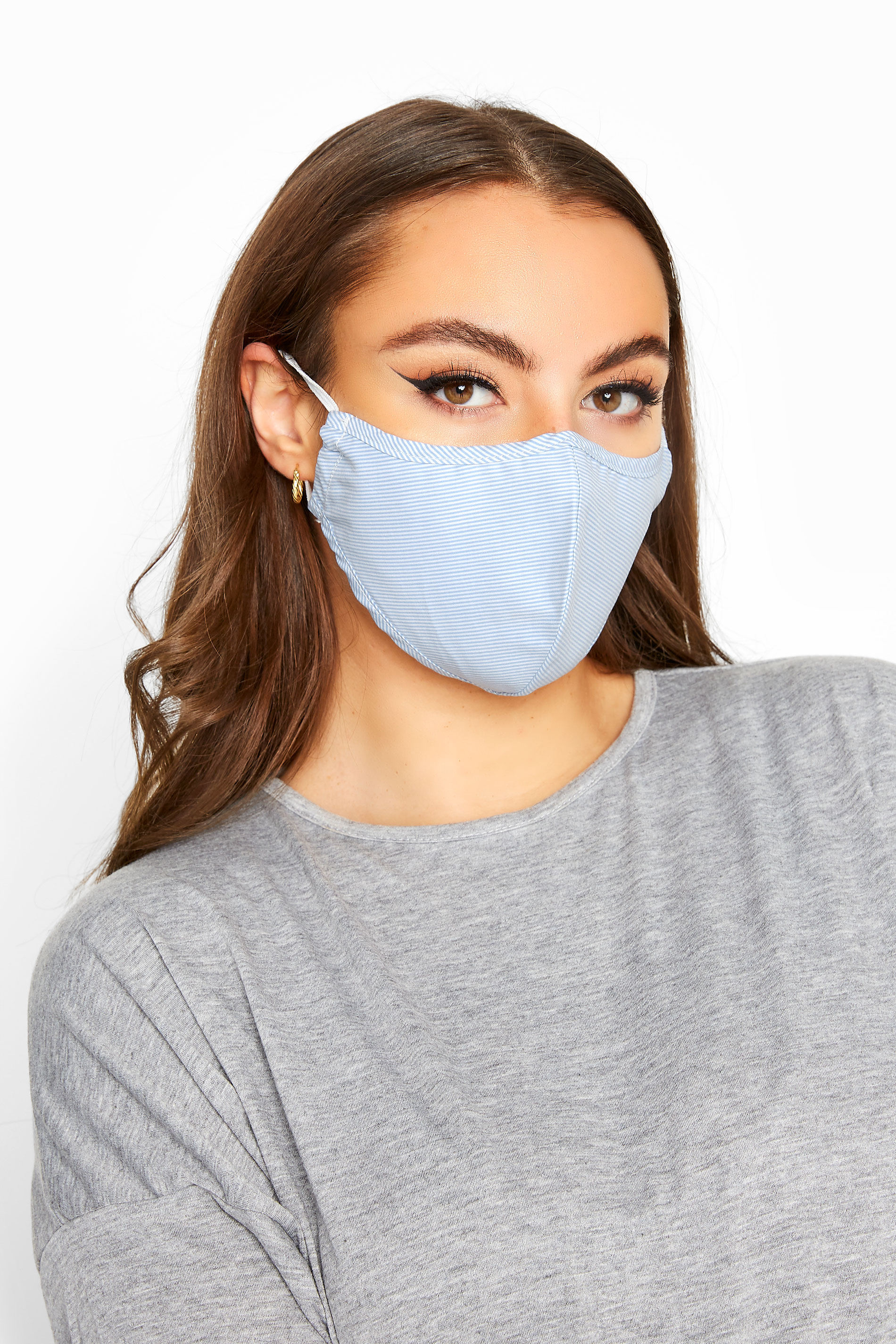 Pale Blue Diagonal Stripe Antibacterial Face Mask_A.jpg