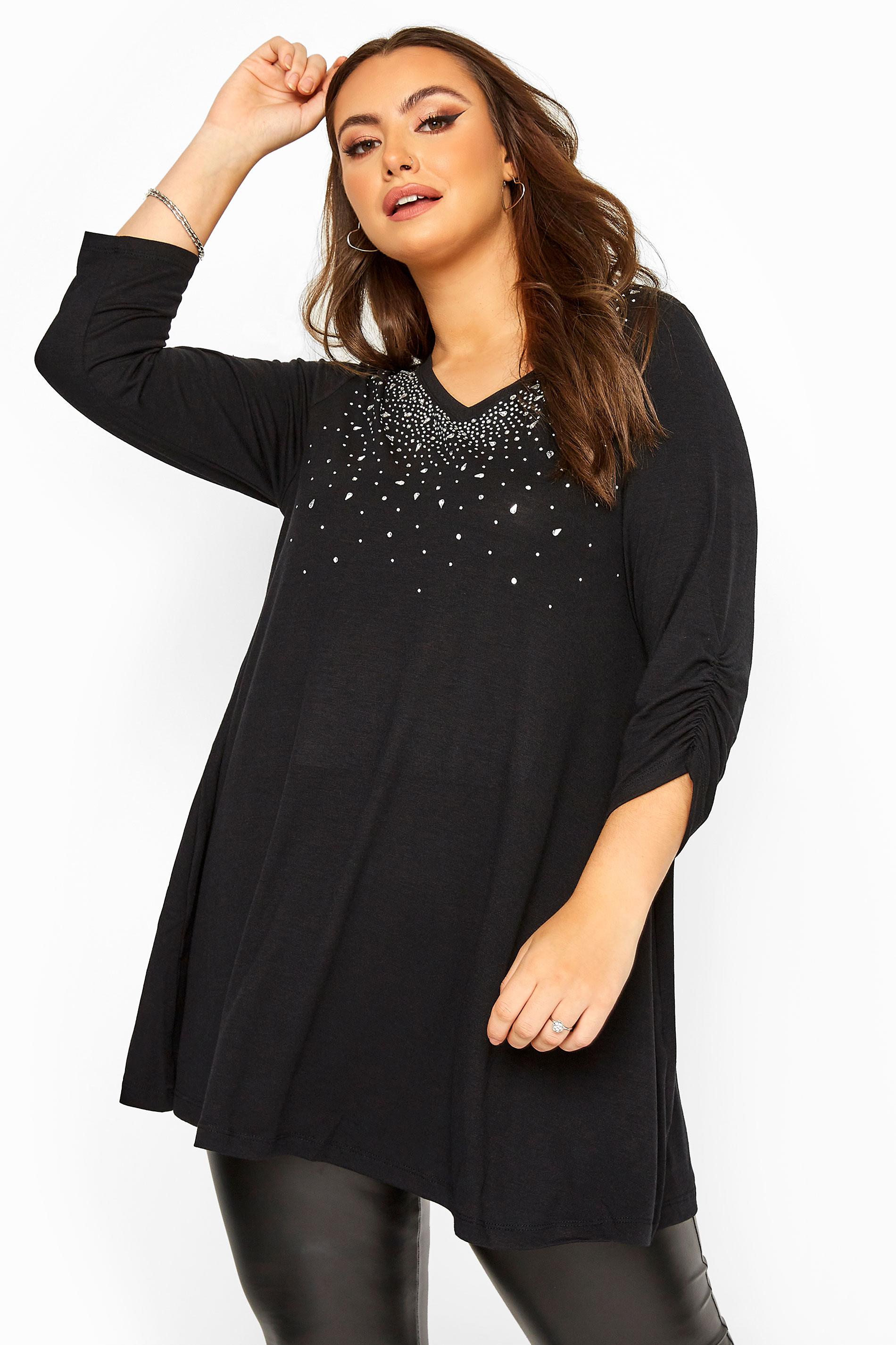 Black Diamante Stud Knitted Top