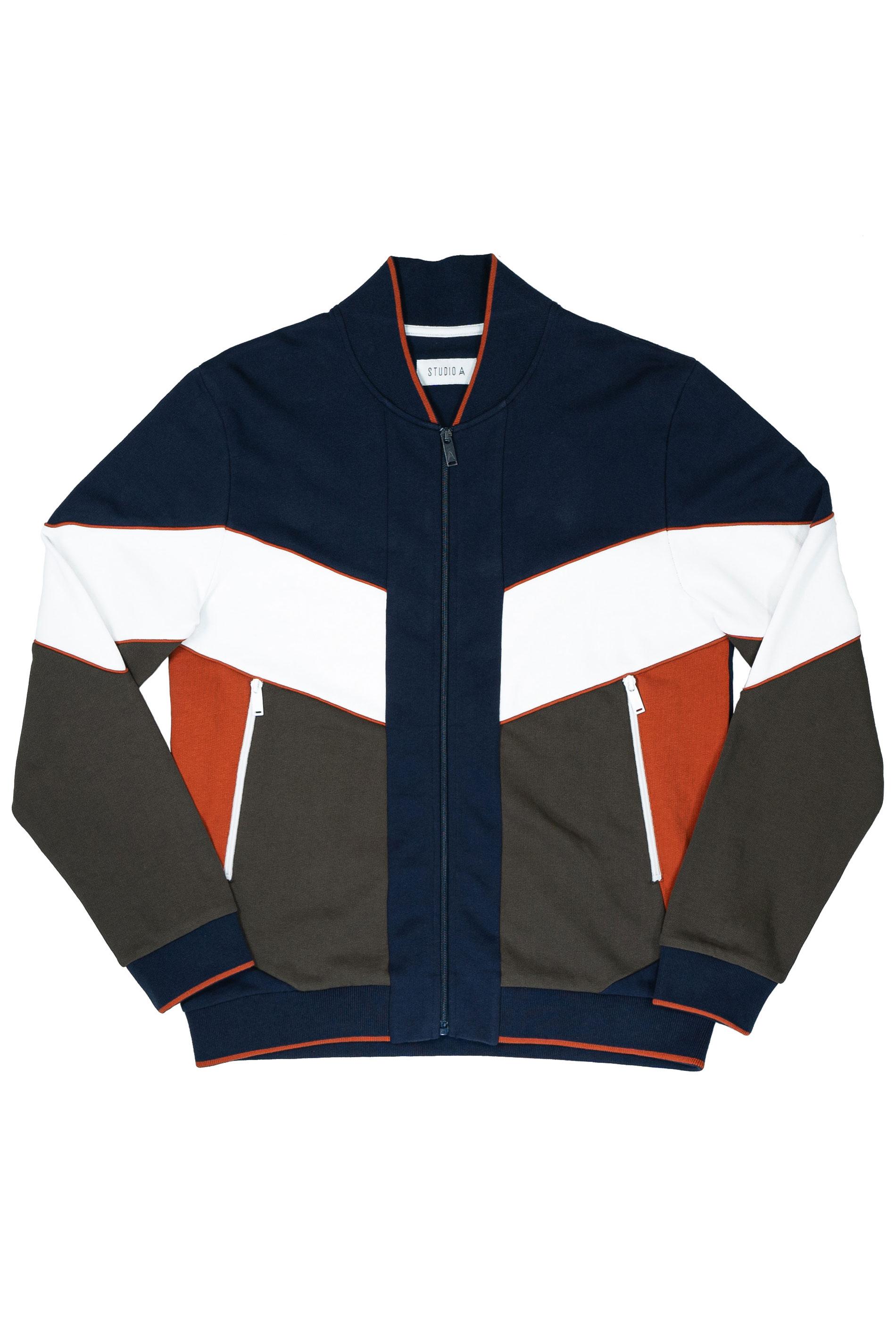STUDIO A Navy & Khaki Colour Block Bomber Jacket