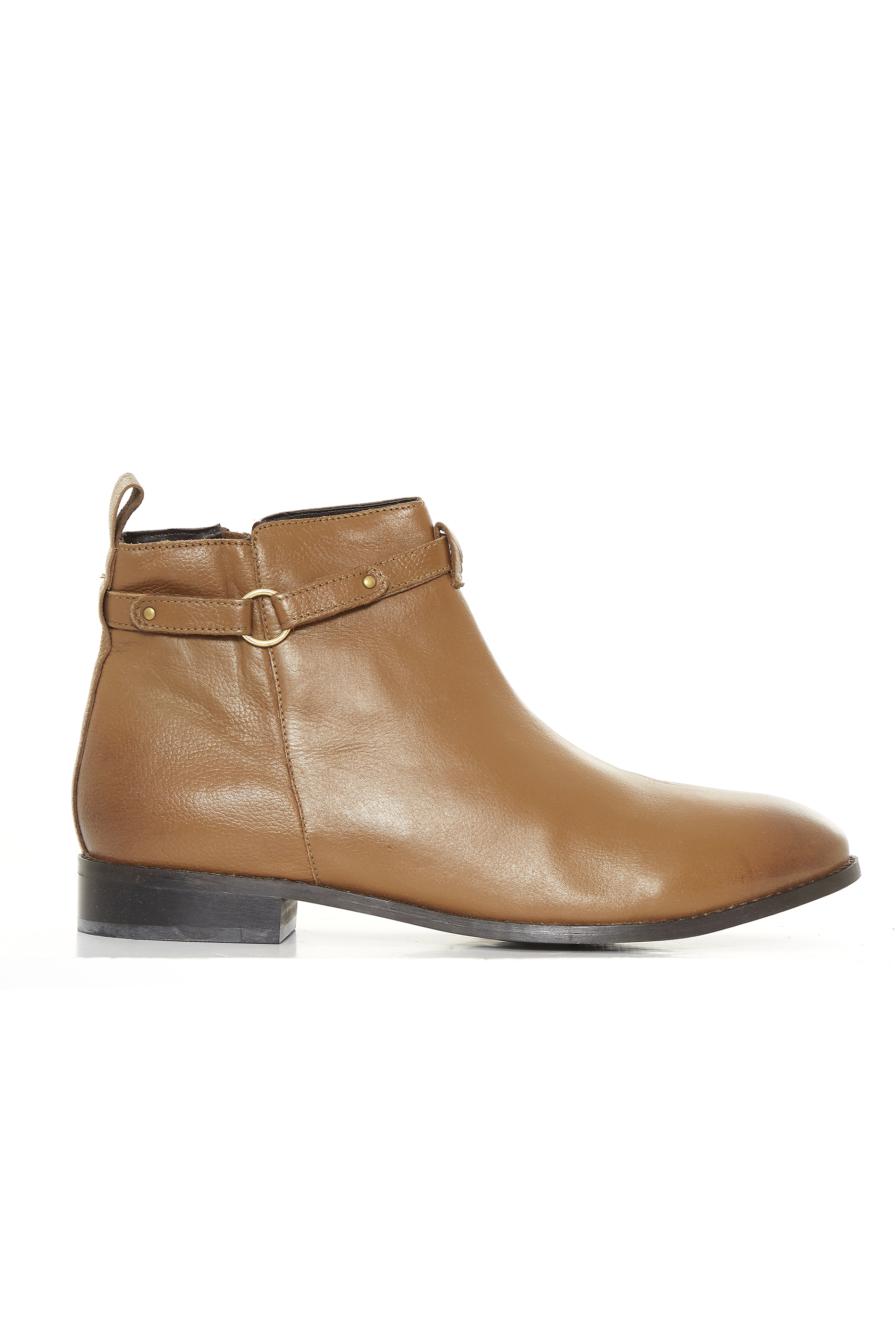Tan Leather Ring Ankle Boots