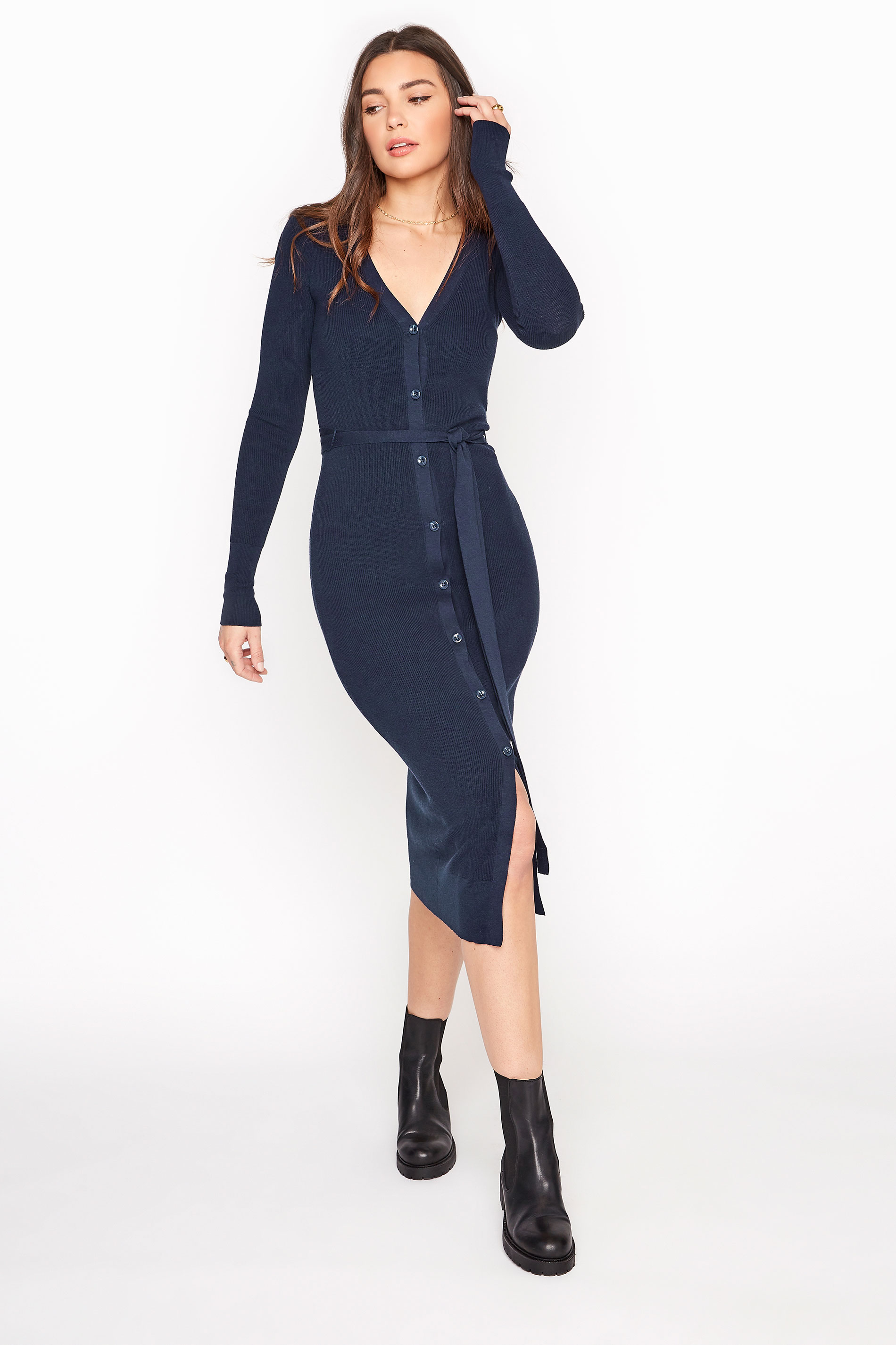 Navy Button Through Knitted Cardigan Dress
