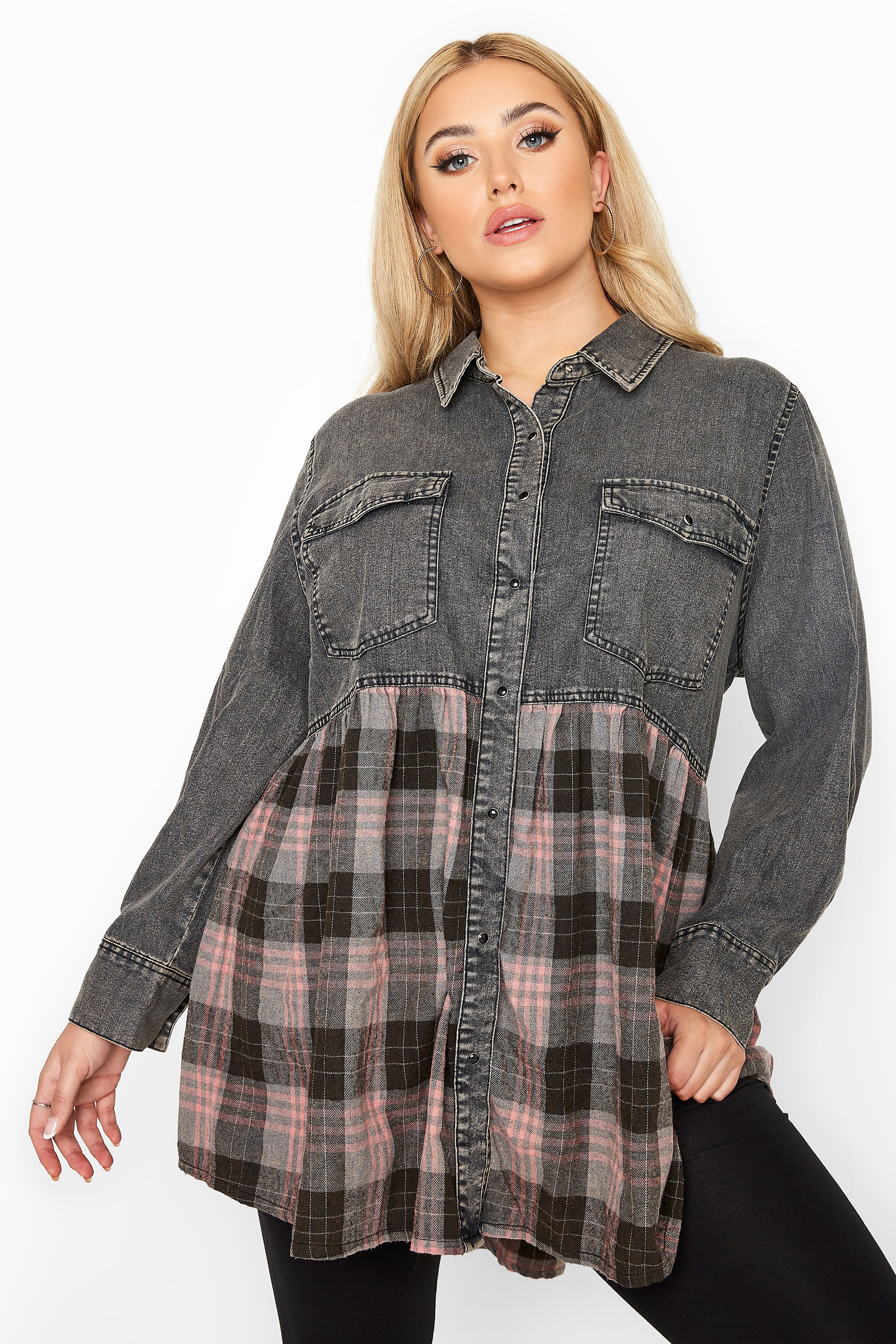 Grey Denim Check Mix Smock Shirt